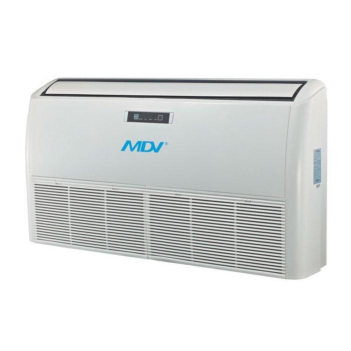 Напольно-потолочный кондиционер Mdv MDUE-18HRN1/MDOU-18HN15.5 кВт - 18 BTU<br>Эффективно организовать желаемые климатические условия внутри помещения поможет новейшая компактная напольно-потолочная сплит-система с отличной функциональной комплектацией Mdv (Мдв) MDUE-18HRN1/MDOU-18HN1. Представленное устройство отлично работает при различных уличных температурах и подходит для применения на участках самого разного назначения.<br>Особенности и преимущества сплит-системы напольно-потолочного типа Mdv серии MDUE:<br><br>Предустановленный низкотемпературный комплект обеспечивает работу кондиционера при температуре наружного воздуха до -25  С. В межсезонье, при уличной температуре от +15 С до +5 С сохраняется 100% холодопроизводительность, что особенно актуально для помещений коммерческого назначения (например, магазины).<br>Универсальное подключение дренажа. Дренаж может быть подключен справа или слева, что делает монтаж кондиционера более удобным.<br>Универсальный монтаж. Внутренний блок может быть установлен горизонтально у потолка или вертикально на стене.<br>Автоматические жалюзи. С помощью пульта ДУ можно управлять потоком воздуха по вертикали и по горизонтали.<br>Автоматический перезапуск. В случае непредвиденного отключения кондиционера из-за сбоя питания, после возобновления подачи электроэнергии кондиционер MDV продолжает свою работу и автоматически возвращается к ранее установленным настройкам.<br><br>Современные сплит-системы напольно-потолочного типа Mdv серии MDUE помогут качественно и экономично изменить микроклимат в различных помещениях, где большое внимание уделяется дизайну устанавливаемых агрегатов и уровню комфорта при их эксплуатации. Модели совершенно бесшумны в работе, не нуждаются в частом обслуживании и отличаются компактным и тонким исполнением.<br><br>Страна: Китай<br>Охлаждение, кВт: 5.42<br>Обогрев, кВт: 5.57<br>Осушение, л/час: None<br>Воздухообмен, мsup3;/ч: 1150<br>Уровень шума внеш/внутр.б., Дба: 62/43<br>Габариты внут. блока, ВШГ: 235x10