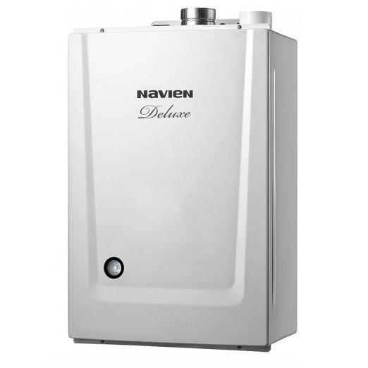 Котел Navien Deluxe-20k COAXIAL White24 кВт<br>Navien (Навьен) Deluxe-20k COAXIAL White представляет собой двухконтурный настенный котел, в качестве источника энергии использующий природный газ (опционально можно переоборудовать представленную модель для работы и на сжиженном газе). Агрегат очень экономичен в использовании несмотря на высокую производительность и отапливаемую площадь 200 квадратных метров.<br>Особенности и преимущества двухконтурного котла серии Deluxe COAXIAL:<br><br>Стабильная система защиты от замерзания<br>Безопасная и стабильная работа котла при частых колебаниях напряжения в электросети<br>Возможность пользоваться отоплением и горячей водой при низком входном давлении газа в системе газопровода<br>Возможность пользоваться горячей водой при низком входящем давлении воды в системе водопровода<br>Выносной пульт управления В КОМПЛЕКТЕ С КОТЛОМ!!!<br>Модулируемая система турбонаддува<br>Теплообменник из нержавеющей стали<br><br>Серия настенных газовых котлов Deluxe COAXIAL от достойной производственной компании NAVIEN   это идеальное решение для создания системы отопления и горячего водоснабжения на современных жилых или коммерческих объектах, где необходимо организовать оптимальные условия, соответствующие тепловому комфорту. Модели из серии имеют раздельные теплообменники из надежного материала.<br><br>Страна: Корея<br>Производство: Корея<br>Тип котла: Энергозависимые<br>Режим работы: Отопление/ГВС<br>Камера сгорания: Закрытая<br>Горелка: Модулируемая<br>Max мощность, кВт: 20.0<br>Min мощность, кВт: 9.0<br>Max давление отопит контура , Атм: 3.0<br>Min давление отопит контура , Атм: 0.6<br>Расширительный бак: Да<br>Циркуляционный насос: Да<br>Встроенный накопительный бойлер: Нет<br>Возможность подключения бойлера ГВС: None<br>Тип теплообменника: Нет<br>Max давление в контуре ГВС, Атм : 8.0<br>Min давление в контуре ГВС, Атм : 0.3<br>Производительность 916; ГВС 30С, л/мин: None<br>Max расход природного газа, m3/кг: 2.15<br>Max расход сжиженного газ