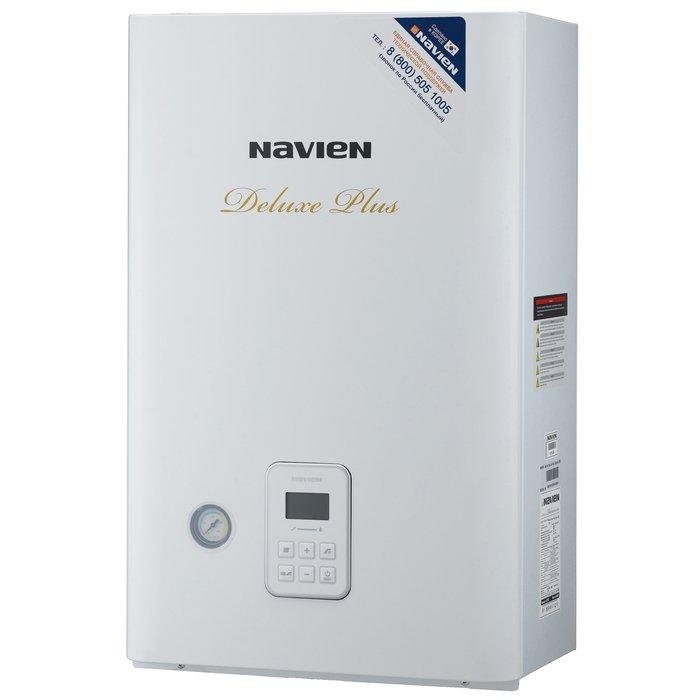 Котел Navien Deluxe Plus - 24k24 кВт<br>Настенный газовый котел Navien (Навьен) Deluxe Plus - 24k идеально подойдет для эксплуатации в условиях российской действительности, так как был оснащен надежной системой защиты от замерзания и способен функционировать даже при низком входном давлении газа. Рассматриваемая модель имеет лаконичный дизайн и компактные размерные характеристики, что позволит с умом распределить доступное пространство.<br>Особенности и преимущества двухконтурного котла серии Deluxe Plus (Korea Type):<br><br>Стабильная система защиты от замерзания<br>Безопасная и стабильная работа котла при частых колебаниях напряжения в электросети<br>Возможность пользоваться отоплением и горячей водой при низком входном давлении газа в системе газопровода<br>Возможность пользоваться горячей водой при низком входящем давлении воды в системе водопровода<br>Встроенная панель управления на передней панели котла<br>Модулируемая система турбонаддува<br>Первичный и вторичный теплообменники из нержавеющей стали&amp;nbsp;<br><br>Настенные газовые котлы NAVIEN из серии Deluxe Plus (Korea Type) &amp;mdash; это надежное оборудование, которое может благополучно функционировать в российских условиях даже при пониженном давлении газа и с перепадами напряжения в сети электропитания. Представленная серия имеет разные модели, которые можно подобрать в зависимости от личных нужд и отапливаемой площади.&amp;nbsp;<br><br>Страна: Корея<br>Производство: Корея<br>Тип котла: Энергозависимые<br>Режим работы: Отопление/ГВС<br>Камера сгорания: Закрытая<br>Горелка: Модулируемая<br>Max мощность, кВт: 24.0<br>Min мощность, кВт: 9.0<br>Max давление отопит контура , Атм: 3.0<br>Min давление отопит контура , Атм: 0.3<br>Расширительный бак: Да<br>Циркуляционный насос: Да<br>Встроенный накопительный бойлер: Нет<br>Возможность подключения бойлера ГВС: None<br>Тип теплообменника: Нет<br>Max давление в контуре ГВС, Атм : 8.0<br>Min давление в контуре ГВС, Атм : 0.3<br>Производительность 916; ГВС 30С, л