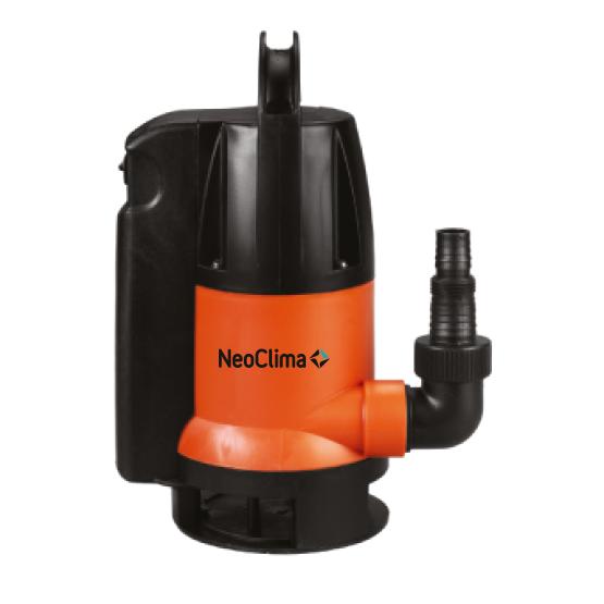 Дренажный насос Neoclima DP 400 CF100 л/мин<br>Вертикальный погружной насос модели NeoClima DP 400 CF может использоваться при организации системы подачи чистой воды из скважин и колодцев, резервуаров, баков или иных источников воды для обеспечения полива, бытового и пищевого водоснабжения и других нужд.<br>Размер механических примесей в воде, допустимых при применении данного оборудования, не должен превышать 0,5 см. Встроенный поплавковый контроллер гарантирует возможность использовать прибор даже в условиях, где визуальное наблюдение за прибором невозможно.<br> Особенности прибора: <br><br>Вертикальная установка прибора<br>Автоматика контроля уровня воды<br>Встроенный поплавковый контроллер<br>Защита от сухого хода<br>Крыльчатка из норила<br>В комплект входит переходник для шланга<br>Пластиковый корпус<br>Бесшумный двигатель<br>Компактные размеры<br>Аккуратный дизайн<br><br>Погружные дренажные насосы со встроенным поплавком серии NeoClima DP   СF/DF могут использоваться для перекачки чистой или загрязненной воды при осушении затопленных подвалов или сточных канав, при удалении воды из бассейнов без донного слива и для подачи воды из колодцев, скважин и водоемов для орошения и других нужд. Маркировка  C  (clean) предполагает эксплуатацию приборов при перекачке чистой или не сильно загрязненной воды   с возможными загрязняющими частицами диаметром до 5 мм. Маркировка  D  (dirty) допускает использование оборудования при перекачке загрязненной воды, где размер фильтруемых частиц может достигать 35 мм в диаметре.<br>Встроенный поплавок обеспечивает автоматический контроль уровня перекачиваемой воды, не допуская холостой работы устройства. Как только уровень воды понижается ниже уровня, обеспечивающего полноценный процесс ее перекачивания, поплавковый контроллер прекращает работу насоса.<br>Вертикальная установка прибора и небольшие габаритные размеры позволяют использовать прибор даже в скважинах малого диаметра.<br>Крыльчатка из норила отличается высокой прочностью и