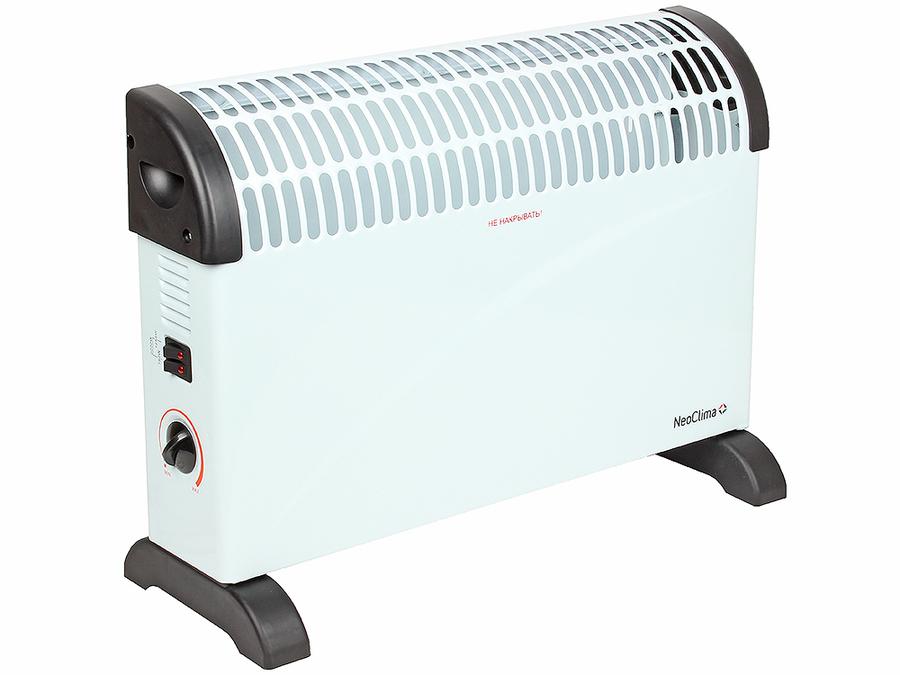 Конвектор электрический Neoclima Fast 2000w20 м? - 2.0 кВт<br>Установите электрический конвектор NEOCLIMA Fast 2000w и Вы сможете в любой момент создать теплую атмосферу в Вашем доме. Этот воздухонагреватель имеет два режима работы   на половинную мощность и на максимальную. А с помощью механического термостата, установленного на боковой панели прибора, Вы можете изменять степень нагрева конвектора и тем самым температуру воздуха в помещении.<br>Особенности конвектора Neoclima:<br><br>Монолитный Х-образный нагревательный элемент<br>Механический термостат<br>Быстрый нагрев<br>Не пересушивает воздух<br>Не сжигает кислород<br>5-ступенчатая система защиты<br>Бесшумная работа<br>Компактность и мобильность<br>Защита от перегрева<br>Защита от попадания влаги   IP24 <br>Защита от попадания внутрь посторонних предметов<br>Защита от замерзания (режим Anti Frost)<br>Защита от поражения электрическим током (класс II)<br>Специальные опоры для простой и надежной установки<br><br>Электрический воздухонагреватель компании Neoclima серии Fast оснащен специально разработанным монолитным нагревательным элементом, имеющим Х-образнyю форму, позволяющую ТЭНу отдавать больше тепла, что, в конечном счете, намного повышает тепловую производительность всего обогревателя. Контакт внешнего воздуха с нагревательным элементом полностью исключен, поэтому при работе прибора воздух остается таким же влажным, а уровень кислорода в нем   неизменным. Кроме того, специальная конструкция корпуса конвектора не дает пыли внутри задерживаться и оседать, издавая при нагреве неприятный запах.<br>Для большего комфорта при использовании конвектор Neoclima оснащен точным механическим термостатом, который позволяет увеличивать и уменьшать тепловую мощность прибора. Его компактные размеры позволяют Вам сохранить максимум полезного пространства при установке обогревателя, а его стильное исполнение позволит Вам украсить этим прибором комнату с любым интерьером.<br>Корпус этого электроконвектора имеет брызгозащитное