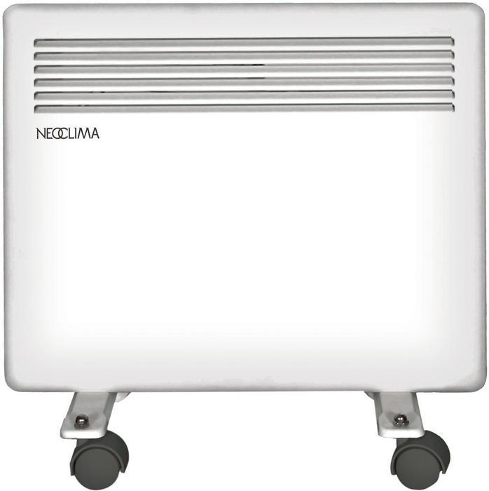 Конвектор электрический Neoclima Futuro 0,55 м? - 0.5 кВт<br>NEOCLIMA Futuro 0,5   современный конвектор, при создании которого использованы самые современные технологии. Конвектор данной серии имеет монолитный нагревательный элемент, электронный термостат. Корпус сделан с классом защиты IP24, что подразумевает защиту от попадания брызг, а также мелких предметов внутрь корпуса.<br>Преимущества электрических конвекторов серии Futuro от NEOCLIMA:<br><br>Электронное управление;<br>Универсальная установка   настенный монтаж, установка на полу;<br>Колесики для установки на полу в стандартной комплектации;<br>Нагревательный элемент   монолитный Х-образный;<br>Наличие таймера;<br>Высокоточный температурный датчик;<br>Автоматическая регулировка температуры;<br>Защита от поражения током, от перегрева от замерзания, от попадания внутрь прибора посторонних предметов;<br>Брызгозащитное исполнение;<br>Низкая температура корпуса;<br>Бесшумная работа, быстрый нагрев, высокая эффективность, экономичность;<br>Не высушивает воздух, не накапливает пыль, безопасная конструкция;<br>Удобный модельный ряд   мощность от 500 до 2000 Вт.<br><br>Серия конвекторов Futuro   это современные технологии, благодаря которым конвектор является высокоэффективным и экономичным прибором. Это достигается сочетанием двух факторов: использование монолитного нагревательного элемента и электронного управления прибором. Нагревательный элемент монолитного типа практически не имеет потерей тепла   так как конструкция однородная то материал равномерно расширяется (или сужается), что позволяет избежать не только появления микротрещин, но и  обеспечивает бесшумность работы прибору. Из достоинств конвекторов данной серии можно отметить брызгозащищенный корпус, низкую температуру поверхности корпуса, автоматическую регулировку температуры. Ко всему вышеперечисленному можно добавить, что это единственная серия с электронным термостатом (а также таймером) из линейки конвекторов NEOCLIMA.  <br><br>Страна: Россия<br>Mощ