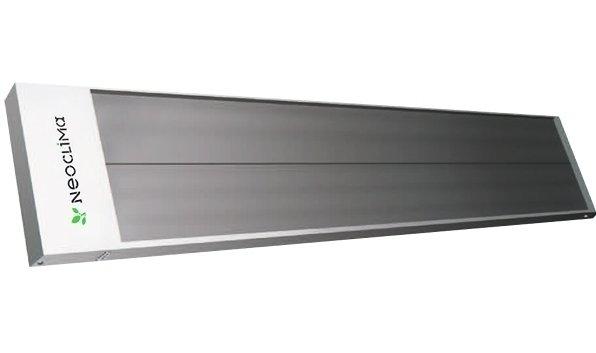Инфракрасный обогреватель Neoclima0.8 кВт<br> <br>    Инфракрасный обогреватель Neoclima IR-0.8. Конструкторами предусмотрена его установка в пяти разных положениях, для быстрого и удобного монтажа используются скобы. Встроенные отражатели изготавливаются из полированного анодированного алюминия. Корпус обогревателя долговечен и предназначен для продолжительного использования благодаря применению антикоррозийного материала. Мощность представленной модели 0.7 кВт. Площадь обогрева 7 квадратных метров.<br> <br>Основные характеристики модели:<br> <br><br>Представленная модель отличается экономичным потреблением электроэнергии и ее эффективным использованием: КПД преобразования электрической энергии в тепловую -  100 %. Есть возможность установки регулируемых термостатов (как дополнительной функции), что дает возможность более рационально потреблять электроэнергию и управлять уровнем температуры в помещении.<br>Простой как при монтаже, так и в эксплуатации, обогреватель Neoclima IR0.8 прикрепляется на потолке, что позволяет экономить пространство и располагать устройство в наиболее удобном месте.<br>Экологичный нагревательный элемент   анодированная алюминиевая панель с ТЭНом   позволяет прогревать помещение и не выделяет при этом в воздух вредные вещества.<br>не комплектуется вилкой и шнуром питания;<br><br> <br>     Компания Neoclima   известный по всему миру международный производитель доступной, современной и надежной климатической техники. Высокое качество производимых товаров, а так же применение инновационных технологий обеспечили  технике Neoclima популярность в ряде Европейских стран, в том числе и в России.<br> <br><br>Страна: Греция<br>Производитель: Россия<br>Мощность, кВт: 0,7<br>Площадь, м?: 7<br>Класс защиты: IP20<br>Регулировка мощности: Да<br>Встроенный термостат: Нет<br>Тип установки: Потолочная<br>Отключение при перегреве: Нет<br>Пульт: Есть<br>Габариты ШВГ, см: 118x8,3x14,7<br>Вес, кг: 3<br>Гарантия: 1 год<br>Ширина мм: 1180<br>Высота мм: 83<br>Глуби