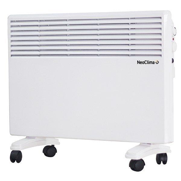 Конвектор электрический Neoclima Intenso 100010 м? - 1.0 кВт<br>Модель электрического конвектора Neoclima (Неоклима) Intenso 1000 оснащена механическим термостатом и рассчитана на продолжительный срок эксплуатации. Прибор предназначен для обогрева помещений с небольшой площадью, поэтому монтируется преимущественно в домах и офисах. Устройство не требует специального обслуживания и работает практически бесшумно.<br>Особенности и преимущества:<br><br>Два режима мощности.<br>Поддержание температуры на заданном уровне.<br>Защита от замерзания  Anti Frost .<br>Х-образный нагревательный элемент.<br>Защита от перегрева и опрокидывания.<br>Настенный кроншейн и опоры с колесиками в комплекте.<br><br>Электрические конвекторы Neoclima серии Intenso с механическим термостатом поставляются совместно со специальными опорами на роликах, поэтому не требуют специфического монтажа. Приборы оснащены защитой от замерзания и опрокидывания, поэтому надежны и безопасны в эксплуатации. Все модели из серии выполнены в компактных размерах и отличаются элегантным дизайном.<br><br>Страна: Греция<br>Производитель: Россия<br>Mощность, Вт: 1000<br>Площадь, м?: 10<br>Класс защиты: IPX4<br>Настенный монтаж: Да<br>Термостат: Механический<br>Тип установки: Стена/пол<br>Длина конвектора: 505<br>Высота конвектора: 500<br>Отключение при перегреве: Есть<br>Отключение при опрокидывании: Есть<br>Влагозащитный корпус IP44: Нет<br>Ионизатор: Нет<br>Дисплей: Нет<br>Питание В/Гц: 220/50<br>Размеры ВхШхГ: 500x505x120<br>Вес, кг: 4<br>Гарантия: 1 год