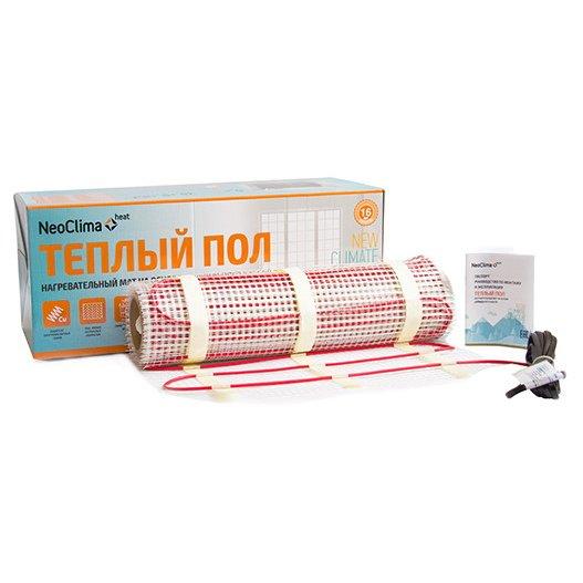 Теплый пол Neoclima N-TM 300/2.0Нагревательные маты<br>Решить актуальный для многих вопрос дополнительного обогрева небольших помещений, участков квартиры или индивидуального дома, а также исключить проблему холодного пола, можно с помощью нагревательного мата от достойной производственной компании Neoclima (Неоклима) N-TM 300/2.0. Представленное изделие   это надежное и простое решение, не требующего трудоемкого монтажа и обслуживания.<br>Основные достоинства рассматриваемой модели системы теплого пола:<br><br>Быстрый монтаж готовой системы<br>Оплетка из меди равномерно распределяет тепло<br>Безопасность за счет двойной надежной изоляции<br>Монтаж под плиточный клей<br>Теплостойкий PVC со сроком службы более 40 лет<br>Подходит для всех типов помещений<br>Срок службы более 25 лет<br><br>Комплектация:<br><br>Нагревательный мат<br>Монтажная трубка для датчика измеряющего температуру пола<br>Инструкция по монтажу и эксплуатации<br>Упаковочная коробка<br><br>Системы теплого пола от компании Neoclima   это не только простое решение для организации и поддержания благоприятных климатических показателей внутри помещения, но и доступное для большинства потребителей приобретение, которое также позволит повысить уровень комфорта в городской квартире или индивидуальном доме. Изделия от данной производственной компании отличаются надежностью и долговечностью.<br><br>Страна: Греция<br>Мощность, кВт: 0.285<br>Удельная мощ., Вт/м?: None<br>Длина, м: None<br>Площадь, м?: 3.0<br>Тип кабеля: Двухжильный<br>Напряжение, В: 220<br>диаметр нагревательного кабеля, мм: None<br>Изоляция: Медная<br>Экран: None<br>Вес, кг: 2<br>Гарантия: 16 лет