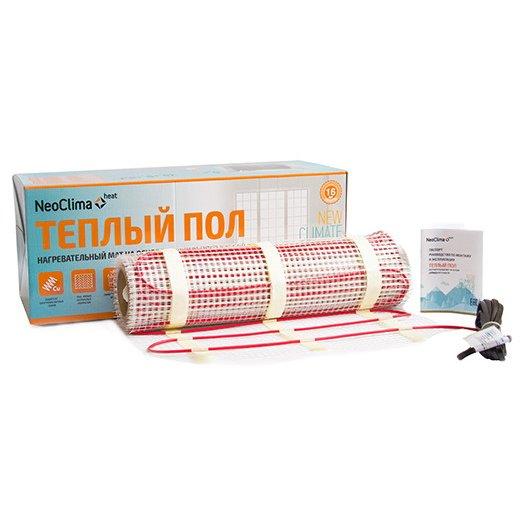 Теплый пол Neoclima N-TM 600/4.0Нагревательные маты<br>Neoclima (Неоклима) NTM 600/4,0 представляет собой нагревательный мат. Рабочая площадь 4 кв.м. Замечательное решение для небольших комнат, позволяет поддерживать пол теплым и при этом не сушить воздух. Вы и ваша семья будете проводить холодные вечера на полу, особенно это нравится детям, которых будет магнитом тянуть на теплый пол. Вместе с терморегулятором будет сохранять определенное тепло автоматически.<br>Основные достоинства рассматриваемой модели системы теплого пола:<br><br>Быстрый монтаж готовой системы<br>Оплетка из меди равномерно распределяет тепло<br>Безопасность за счет двойной надежной изоляции<br>Монтаж под плиточный клей<br>Теплостойкий PVC со сроком службы более 40 лет<br>Подходит для всех типов помещений<br>Срок службы более 25 лет<br><br>Комплектация:<br><br>Нагревательный мат<br>Монтажная трубка для датчика измеряющего температуру пола<br>Инструкция по монтажу и эксплуатации<br>Упаковочная коробка<br><br>Системы теплого пола от компании Neoclima   это не только простое решение для организации и поддержания благоприятных климатических показателей внутри помещения, но и доступное для большинства потребителей приобретение, которое также позволит повысить уровень комфорта в городской квартире или индивидуальном доме. Изделия от данной производственной компании отличаются надежностью и долговечностью.<br><br>Страна: Греция<br>Мощность, кВт: 0.630<br>Удельная мощ., Вт/м?: None<br>Длина, м: None<br>Площадь, м?: 4.0<br>Тип кабеля: Двухжильный<br>Напряжение, В: 220<br>диаметр нагревательного кабеля, мм: None<br>Изоляция: Медная<br>Экран: None<br>Вес, кг: 3<br>Гарантия: 16 лет