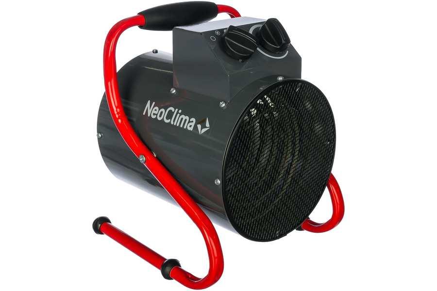 Тепловая пушка Neoclima ТПК-33 кВт<br> <br>Тепловые пушки Neoclima   надежные приборы для профессионального использования. Нагрев воздуха в помещениях разного объема, подача необходимого объема теплого воздуха в зоны ведения строительных и ремонтных работ, поддержание необходимых температур в помещениях.<br>Все модели тепловых пушек Neoclima имеют встроенный блок защиты от перегрева и аварийного отключения. Все серии выходят в надежном металлическом корпусе окрашенном порошковой термостойкой эмалью. Из преимуществ тепловых пушек Neoclima стоит выделить направленный поток горячего воздуха и изменяемый угол наклона корпуса (3-5кВт), ТЭНы из углеродистой стали с  ресурсом  более 25 тыс. часов, ступенчатое переключение мощности и электродвигатель имеющий  ресурс не менее 40 тыс. часов.<br>Круглые пушки, серии ТПК, с увеличенной дельтой нагрева воздуха, эффективны при необходимости быстрого нагрева больших воздушных масс и создания направленного мощного потока нагретого воздуха.  Оснащены датчиком перегрева и кнопочным управлением с высокой степенью брызгозащищенности. Удобная ручка перемещения антивандального исполнения. Присутствует ступенчатая регулировка мощности, и для моделей больше 5 кВт   автоматическое поддержание заданной температуры.<br>Преимущества:<br><br>2 режима нагрева<br>Малошумный двигатель<br>Эффективный нагрев входящего воздуха (+30 градусов С)<br>Антивандальное исполнение<br>Удобная ручка перемещения с антискользящей резиновой накладкой<br>Устойчивые ножки<br>Все степени безопасности<br>Электрический провод и вилка в комплекте<br>Внутренний стальной защитный кожух не позволяет нагреваться корпусу прибора<br><br><br>Страна: Россия<br>Тип: Электрическая<br>Мощность, кВт: 3,0<br>Площадь, м?: 30<br>Скорость потока м/с: None<br>Расход топлива, кг/час: None<br>Расход воздуха, мsup3;/ч: 300<br>Нагревательный элемент: Трубчатый<br>Вместимость бака, л: None<br>Регулировка температуры: Есть<br>Вентиляция без нагрева: Есть<br>Настенный монтаж: Нет<br>Влагозащит
