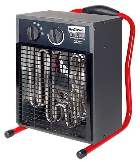 Тепловая пушка Neoclima ТПП-910 кВт<br>Тепловые пушки для дачи Neoclima   надежные приборы для профессионального использования. Нагрев воздуха в помещениях разного объема, подача необходимого объема теплого воздуха в зоны ведения строительных и ремонтных работ, поддержание необходимых температур в помещениях. Все модели тепловых пушек для дачи Neoclima имеют встроенный блок защиты от перегрева и аварийного отключения. Все серии выходят в надежном металлическом корпусе окрашенном порошковой термостойкой эмалью. <br><br>Страна: Россия<br>Производитель: Россия<br>Тип: Электрическая<br>Площадь, м?: 90<br>Мощность, кВт: 9,0<br>Скорость потока м/с: None<br>Расход топлива, кг/час: None<br>Расход воздуха, мsup3;/ч: 720<br>Нагревательный элемент: Трубчатый<br>Вместимость бака, л: None<br>Регулировка температуры: Есть<br>Вентиляция без нагрева: Есть<br>Настенный монтаж: Нет<br>Влагозащитный корпус: Нет<br>Напряжение, В: 380 В<br>Вилка: None<br>Размеры ВхШхГ, см: 51x39x36.5<br>Вес, кг: 12<br>Гарантия: 1 год
