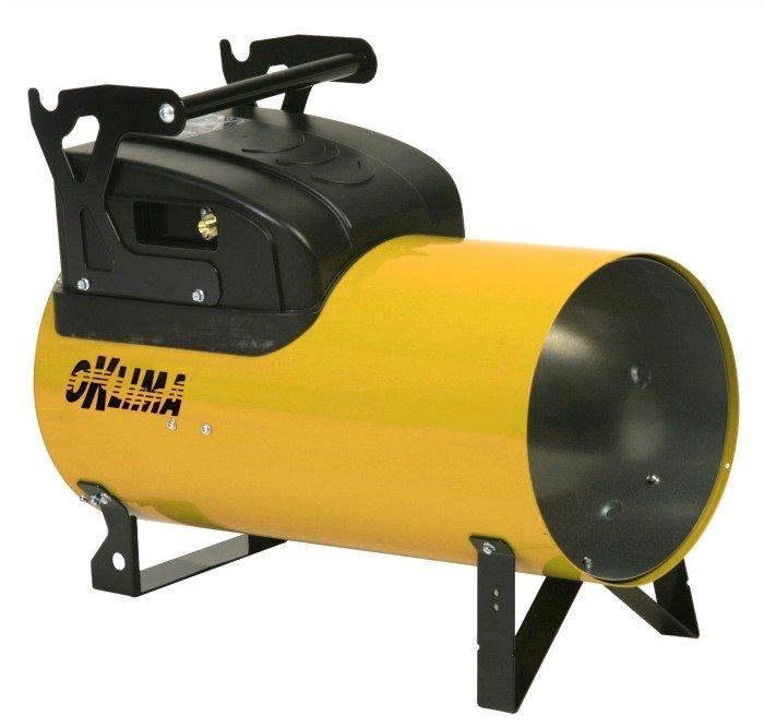 Газовый теплогенератор OklimaГазовые пушки<br>Газовый теплогенератор для воздушного отопления Oklima (Оклима) SG260 M прекрасно подойдет для обогрева строительных площадок или любых промышленных помещений. Для включения газовой горелки не требуется использование спичек или зажигалки   данный обогреватель оснащен удобным пьезоэлектрическим розжигом. Для дополнительной безопасности газовый теплогенератор для воздушного отопления оснащен температурным датчиком, благодаря которому происходит автоматическое прекращение подачи газа, если пламя горелки по какой-либо причине затухло.<br><br>Страна: Италия<br>Производитель: Италия<br>Тип: Газовый<br>Мощность, кВт: 66,25<br>Площадь, м?: 670<br>Скорость потока м/с: None<br>Расход топлива, кг/час: 2,097  4,268<br>Расход воздуха, мsup3;/ч: 1950<br>Нагревательный элемент: Нет<br>Вместимость бака, л: None<br>Регулировка температуры: Нет<br>Вентиляция без нагрева: Нет<br>Настенный монтаж: Нет<br>Влагозащитный корпус: Нет<br>Напряжение, В: 220 В<br>Вилка: None<br>Размеры ВхШхГ, см: 31,7х58х53,8<br>Вес, кг: 14<br>Гарантия: 1 год