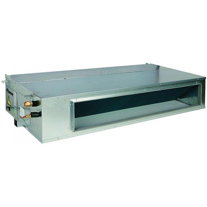Канальный кондиционер Pioneer KFD42UW/KOD42UW14 кВт - 48 BTU<br>Современный низконапорный канальный кондиционер Pioneer (Пионер) KFD42UW/KOD42UW имеет несколько рабочих режимов, в том числе и режим вентиляции. Благодаря наличию специального отверстия вентилирование помещения может производиться с подмесом уличного воздуха &amp;ndash; конечно, предварительно очищенного и доведенного до нужной пользователю температуры.<br>Особенности рассматриваемой модели канального кондиционера от торговой марки Pioneer:<br><br>Удобный, незаметный постороннему взгляду канальный тип установки.<br>Ультратонкий корпус.<br>Сторона забора воздуха выбирается пользователем при монтаже.<br>Высокая энергоэффективность.<br>3 скорости вентилятора.<br>Быстрый выход на режим комфортной температуры.<br>Высокоэффективный фильтр очистки воздуха.<br>Кондиционер оборудован системой самодиагностики неисправностей, контролируемой микропроцессором последнего поколения.<br>Автоматический перезапуск.<br>Режим вентиляции воздуха.<br>Режим комфортного сна.<br>Режим осушения воздуха в помещении.<br>В данной модели реализована возможность притока свежего воздуха.<br>Кондиционер оборудован таймером на включение/выключение с возможностью программирования на неделю.<br>Проводной пульт управления в комплекте.<br>Дренажный насос необходимо приобрести отдельно.<br><br>Серия низконапорных канальных кондиционеров от известной только качественной техникой японской компании Pioneer отличается универсальностью, удобством в управлении и высокой эффективностью в работе. Все модели семейства оснащены современной электронной системой управления, для установки режимов функционирования приборы комплектуются эргономичным проводным пультом, который, как правило, закрепляется на стену. Есть возможность программировать включение и выключение оборудования на срок до недели. Кроме того, все модели серии оснащены режимом приточной вентиляции, который позволит регулярно вентилировать помещение свежим очищенным уличным воздухом.<br><b