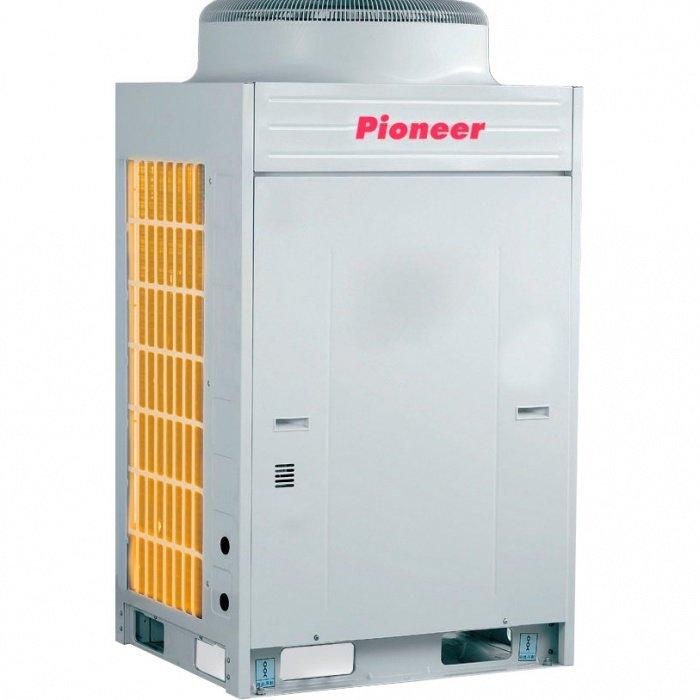 VRF система Pioneer KGV450WНаружные блоки<br>Наружный блок Pioneer (Пионер)  KGV450W оснащен новейший инверторным компрессором и представлен в корпусе из особопрочных материалов; все детали комплектации представленного оборудования отличаются обновленной улучшенной конструкцией. Блок надежно защищен от влияния окружающей среды, оснащен системой разморозки и адаптирован к эксплуатации при низких и высоких температурах.<br>Основные преимущества эксплуатации модели наружного блока VRF-системы от компании Pioneer серии KGV:<br><br>Новинка рынка климатической техники<br>Использование камеры высокого давления специальной конструкции минимизирует потери на всасывании и увеличивает эффективность компрессора на 3   5%<br>Улучшение эффективности работы компрессора при малой производительности достигается за счет компактности исполнения обмотки электродвигателя<br>Система управления предусматривает ротацию модулей наружных блоков, т.е. попеременную работу каждой из групп для обеспечения ими одинакового ресурса. Интервал переключения составляет 12 часов (суммарное время наработки блоков)<br>Современные технологии изготовления гарантируют надежность и длительный срок эксплуатации выпускаемой продукции<br>Широкий модельный ряд наружных блоков   21 типоразмер с диапазоном хладопроизводительности от 16 до 130 кВт, комплектуемые из 6 базовых модулей<br>К одному наружному блоку можно подключить до 64-х внутренних блоков (в зависимости от типоразмера наружного блока)<br>Большие допустимые значения длин фреонопроводов для системы KGV позволяют в большей степени адаптировать монтажную схему трубопровода хладагента к характеристикам зданий и помещений<br>100% гарантия высокого качества от производителя.<br><br>Агрегаты мультизональных VRF-систем кондиционирования воздуха серии KGV от компании Pioneer   это высокий комфорт в эксплуатации, удобство монтажа, высокая производительность и низкий расход электроэнергии. Семейство представлено наружными и внутренними блоками различного типа, где