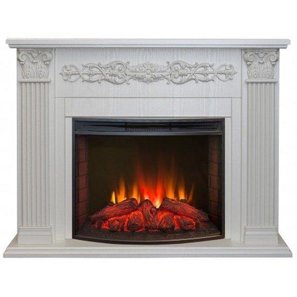 Камин Real-Flame Milton 25,5/26 WT с очагом Evrika 25,5 LEDКаминокомплекты<br>Модель электрического камина Real Flame (Реал Флейм) Milton 25,5/26 WT с очагом Evrika 25,5 LED станет полезным приобретением для любого дома и офиса. Агрегат не только дополнительно обогреет помещение в холодное время года, но и поможет придать интерьеру оригинальность и уют. Очаг камина надежно защищен от внешнего воздействия прочным стеклом.<br>Особенности и преимущества:<br><br>Стильный, роскошный внешний вид.<br>Материал изготовления   МДФ высокого качества, отделка пленкой.<br>Реалистичные муляжи поленьев.<br>100% гарантия качества и долговечности.<br><br>Готовые комплекты электрических каминов Real Flame с порталом Milton помогут создать комфортные климатические условия в помещении в холодное время года и станут достойным дополнением любого интерьера. Модели представлены в двух цветах: темный орех и белый. Порталы агрегатов выполнены из МДФ и пленки, которые обеспечивают длительный срок службы каминам. <br><br>Страна: Канада<br>Материалы портала: МДФ/пленка<br>Мощность, кВт: 2,0<br>Обогреватель: Есть<br>Фильтр очистки воздуха: Нет<br>Пламя Optiflame: Нет<br>Эффект топлива: Дрова<br>Цвет: Выбеленный дуб<br>Потрескивание: Нет<br>Пульт: Есть<br>Дисплей: Нет<br>Тип камина: Электрический<br>ГабаритыВШГ,мм: 890x1190x350<br>Вес, кг: 60<br>Гарантия: 1 год