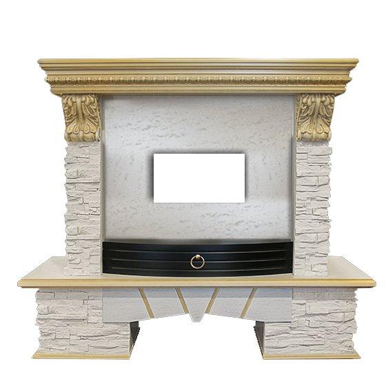 Камин Real-Flame ROCKLAND LUX 25Порталы из камня<br>Шикарный каминный портал Real Flame (Реал Флейм) ROCKLAND LUX FS25 идеально впишется в интерьер рустикального стиля. Модель станет изюминкой интерьерной композиции, привнесет в атмосферу уют и незабываемый комфорт. Для создания полноценного камина необходимо дополнительно приобрести электротопку с диагональю 25 дюймов от одноименного бренда. Портал поставляется в разобранном виде, изготовлен в России.<br>Особенности и преимущества деревянного портала для электрокамина от Real-Flame представленной модели:<br><br>Материалы изготовления: МДФ, натуральный шпон.<br>Пристенный фронтальный вариант установки.<br>Стильный эргономичный дизайн.<br>Компактные размеры.<br>Высокое качество материалов и сборки.<br>Простота в уходе.<br>Портал устойчив к разрушающему воздействию солнечных лучей и небольших механических повреждений.<br>Несложный монтаж, не требующий профессиональных навыков.<br>Подходит для комплектации электрическими топками от одноименного бренда.<br>Очаг для портала необходимо приобрести отдельно.<br><br>Новое семейство каминных порталов от популярной торговой марки Real-Flame &amp;ndash; это высокие технологии производства, только качественные материалы и длительный срок эксплуатации. В нашем интернет-каталоге представлен широкий ассортимент моделей, где каждый пользователь сможет подобрать обрамление, которое идеально впишется в его интерьер. Новинки исполнены в универсальном &amp;ndash; для установки в угол или у стены и в классическом фронтальном варианте.<br>&amp;nbsp;<br><br>Страна: Канада<br>Материал портала: МДФ/нат. шпон<br>Цвет: Белый дуб с золотом<br>Тип портала: Фронтальный<br>ГабаритыВШГ,мм: 1045x1200x450<br>Вес, кг: 60<br>Гарантия: 1 год