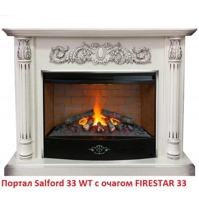 Деревянный портал для камина Real-Flame Salford 33 WTПорталы из дерева<br>Real Flame (Реал Флейм) Salford 33 WT собранный портал под широкий очаг 3D Firestar 33. Портал в совершенстве соответствующий классическим каминам. Для столешницы, основания, панелей, колонн применены только качественные МДФ и древесный шпон, подражающие белому дубу. На панели над отверстием для очага расположен мастерски вырезанный выразительный узор.<br>Особенности портала<br><br><br>Проработанные стиль и эстетика дизайна<br>Высококачественные материалы под дерево или камень<br>Цвет WT-655<br>Поверхность, устойчивая к повреждениям, температурам<br>Установка пристенная<br>Искусное исполнение высокого класса<br>Долгий срок службы<br>Комплектуется электрическими очагами этого же производителя<br>Простая и быстрая установка<br>Удобное и легкое обслуживание<br><br>Компания Real Flame представляет серию порталов под электрокамины. Богатство и разнообразие моделей различных наименований, отличающихся цветом, размерами, внешним видом и другими характеристиками. Повышенный контроль качества продукции. Порталы для каминов изготовляются из различных материалов камня и дерева с изысканой стилизацией в классическом или современном дизайне. Каждый портал согласуется с  определенным типом и размерами очагов, так что заказчик может выбрать для себя любое их сочетание по своему вкусу.<br><br>Страна: Канада<br>Материал портала: МДФ/шпон<br>Цвет: Дуб белый<br>Тип портала: Фронтальный<br>ГабаритыВШГ,мм: 1100х1370х400<br>Вес, кг: 70<br>Гарантия: 1 год