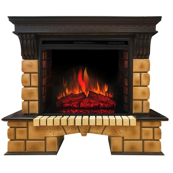 Камин Real-Flame Stone Brick 26 с очагом Epsilon 26 S IRКаминокомплекты<br>Real Flame (Реал Флейм) Stone Brick 26 с очагом Epsilon 26 S IR   это модель электрического камина, оснащенного LED дисплеем. Встроенный в портал очаг максимально реалистично передает тление натуральных бревен, что создает неповторимую атмосферу в помещении и дарит пользователю незабываемые эмоции. Агрегат работает в 7 режимах нагрева и 5 режимах яркости подсветки.<br>Особенности и преимущества:<br><br>Стильный, роскошный внешний вид.<br>Портал камина имеет отделку шпоном.<br>Материал изготовления   МДФ высокого качества.<br>Реалистичные муляжи поленьев.<br>100% гарантия качества и долговечности.<br><br>Готовые комплекты электрических каминов Real Flame с порталом Stone Brick отличаются оригинальной конструкцией. Портал каминов состоит из двух частей: более широкой опорной части и более узкой части, предназначенной для очага. Модели представлены в цвете  античный дуб . Качественное оборудование проходит строгое тестирование перед поступлением в продажу, чему соответствуют специальные сертификаты качества.<br><br>Страна: Канада<br>Материалы портала: МДФ/нат. шпон/камень<br>Мощность, кВт: 1,5<br>Обогреватель: Есть<br>Фильтр очистки воздуха: Нет<br>Пламя Optiflame: Нет<br>Эффект топлива: Дрова<br>Цвет: Античный дуб<br>Потрескивание: Есть<br>Пульт: Есть<br>Дисплей: Нет<br>Тип камина: Электрический<br>ГабаритыВШГ,мм: 1065x1307x425<br>Вес, кг: 70<br>Гарантия: 1 год