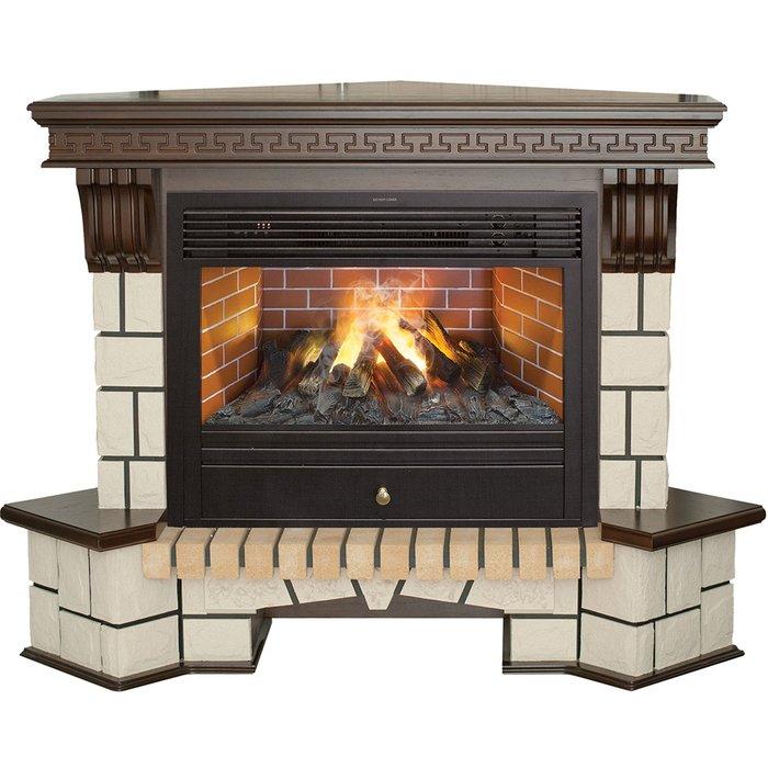 Камин Real-Flame Stone New Corner 26 с очагом 3D Novara 26Каминокомплекты<br>Электрокамин модели Real Flame (Реал Флейм) Stone New Corner 26 с очагом 3D Novara 26 предназначается для углового размещения в комнате и характеризуется отличным качеством исполнения всех деталей, стильным и эстетичным дизайном, идеально подходящим к интерьеру самых разных помещений, и многофункциональностью. Очаг грамотно имитирует живое пламя и комфортно управляется при помощи пульта.<br>Особенности и преимущества готовых решений электрических каминов Real-Flame:<br><br>Привлекательный внешний вид.<br>Отсутствует потребность в дымоходе.<br>Нет дополнительных материальных затрат в процессе монтажа.<br>Прочное стекло, которое не нагревается.<br>Высокий уровень пожаробезопасности.<br>Высококачественные исходные материалы.<br>Портал не облазит и не портится от воздействия солнечных лучей.<br>Реалистичный огонь.<br>Рядом стоящие предметы интерьера не нагреваются.<br>Безопасность эксплуатации.<br>Комфорт использования.<br><br>Особенности и преимущества очага Real Flame 3D Novara 26:<br><br>Электрический очаг с эффектом пламени 3D нового поколения. Модель 2015 года.<br>Абсолютно реалистичный эффект пламени.<br>Мощность на обогрев - до 1,8 кВт.<br>Мощность в декоративном режиме 140Вт (4 галогеновые лампы по 35Вт каждая).<br>Помимо звука горения дров, в очаге используется термостат для поддержания заданной температуры в помещении.<br>Очаг с функцией увлажнения воздуха.<br><br>Электрический камин Real Flame   это отличная альтернатива дровяным печам. Такие приборы смогут создать иллюзию настоящего огня, который вы вряд ли отличите от настоящего. Однако электрические камины имеют множество преимуществ перед дровяными  собратьями . Во-первых, это отсутствие продуктов сгорания, что означает   такие камины не нуждаются в дымоходных трубах. Во-вторых, вам не нужно заботиться о наличии топлива (дров или угля), а также производить обязательную регулярную чистку зольников и топочных камер. В-третьих, элек