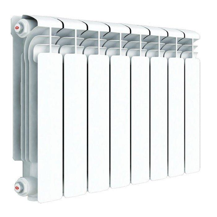 Радиатор отопления Rifar Alum 350 8 секц.Алюминиевые<br>Алюминиевый радиатор отопления Rifar (Рифар) Alum 350 8 секц. создавался для обеспечения комфортных условий в период морозов и межсезонья. Эти приборы универсальны: вы можете подключить их к традиционной отопительной системе с водой в качестве теплоносителя, а также можете использовать как маслонаполненные приборы, работающие от электричества. Отличительное преимущество радиаторов, которое выгодно выделяет их на фоне конкурентов   это уникальная конструкция секционного вертикального канала. Каждая секция радиатора оснащена технологическим отверстием, которое закрывается специальной плотной заглушкой с уплотнителем и не требует сварки. При этом обеспечивается полная герметичность.<br>Особенности и преимущества алюминиевых радиаторов отопления Rifar серии Alum:<br><br>Эффективность поддержания комфортного температурного режима.<br>Цвет радиатора - RAL 9016 (белый).<br>Межосевое расстояние - 500 мм.<br>Двух кратное испытание на герметичность при давлении 30 атм.<br>Гарантия - 10 лет.<br>Водородный показатель теплоносителя рН 7-8.<br>Данный радиатор можно использовать в традиционных системах отопления или в качестве масляного электрического радиатора.<br>Геометрия овального сечения вертикального канала и минимальная толщина стенки (2,8 мм) обеспечивает высокую скорость теплоносителя и снижение образования отложений на внутренних стенках.<br>Возможно использование радиаторов при высокой до 135 С температуре теплоносителя.<br>Продукция Rifar сертифицирована органом по сертификации санитарно-технического и отопительного оборудования САНРОС.<br>В радиаторах выпущенных после 15 июля 2011 допускается использование антифризов (эти радиаторы отмечены желтой наклейкой с указанием допустимых видов теплоносителей).<br>Радиатор бесперебойно работает в течение 25 лет с момента установки при условии правильной транспортировки, монтажа и эксплуатации.<br>Возможна установка устройства в помещениях различного назначения, в том числ