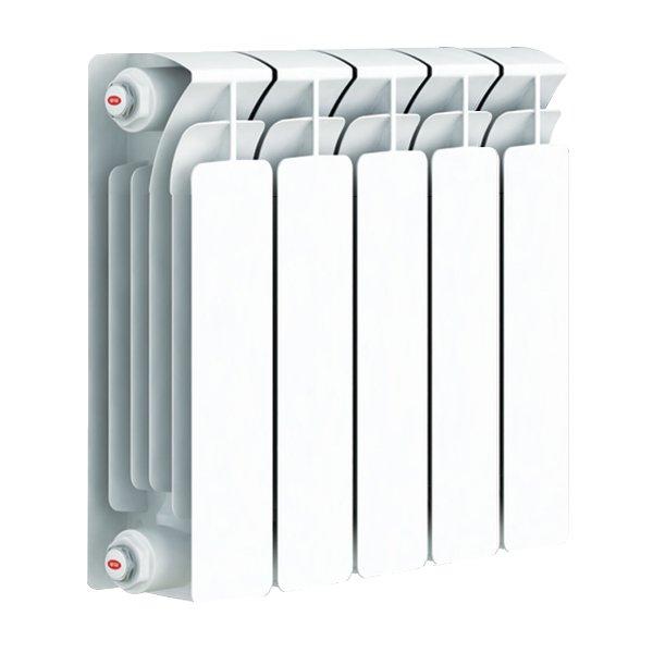 Радиатор отопления Rifar Base 500 5 секц.Биметаллические<br>Биметаллический радиатор отопления Rifar (Рифар) Base 500 5 секц.  будет отличным выбором для больших помещений. Это агрегат из высокомощностной серии линейки Base от компании Рифар. Теплопроводность одной секции радиатора достигает 204 Вт, что и объясняет его высокую эффективность по обслуживанию больших объемов. Применять биметаллический радиатор можно в помещениях самого разного назначения, как бытовых, так и другого типа.<br>Особенности и преимущества биметаллических секционных радиаторов отопления Rifar серии Base:<br><br>Закрытая задняя поверхность секции позволяет использовать прибор в сочетании с французскими окнами.<br>Эффективность поддержания комфортного температурного режима.<br>Двух кратное испытание на герметичность при давлении 30 атм.<br>Цвет радиатора - RAL 9016 (белый).<br>Показатель рН 7-8,3.<br>Высокая стойкость к коррозии.<br>В качестве источника тепла можно использовать только специально подготовленную воду.<br>Возможность использования радиаторов при высокой до 135 С температуре теплоносителя.<br>Высокая прочность конструкции.<br>Возможна установка радиатора в помещениях различного назначения, в том числе в медицинских учреждениях, в детских дошкольных учреждениях.<br>Простота монтажа.<br>Номинальный диаметр коллекторов - 1 (25мм).<br><br>Монтажный комплект к радиаторам Rifar (приобретается отдельно):<br><br>заглушка   1 шт.;<br>переходник   3 шт.;<br>воздуховыпускной клапан (клапан Маевского)   1 шт.;<br><br>Разрабатывая радиаторы биметаллической конструкции Base, компания Rifar уделила особе внимание их износоустойчивости. Для изготовления секций была взята прочная труба из высококачественной стали, а также специальный сплав алюминия. Это и обеспечило фантастическую долговечность приборов, не только не ухудшив показатели теплопроводности, но даже улучшив их. Радиаторы Рифар Base   одни из лучших в сегменте биметаллических приборов для отопления. <br><br>Страна: Россия<br>Межосевое р