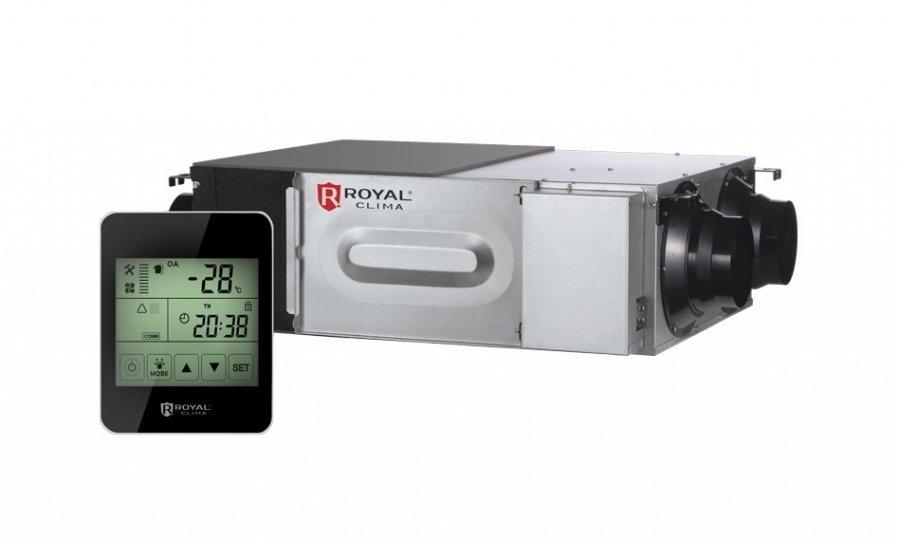 Приточно-вытяжная вентиляционная установка Royal Clima RCS 1350 2.01500 м?/ч<br>RCS 1350 2.0   энергоэффективное вентиляционное оборудование от ROYAL CLIMA. Установка серии Soffio может работать при низких температурах наружного воздуха   благодаря 2х ступенчатой защиты от замораживания рекуператора оборудование стабильно работает при температуре до -200С без дополнительного нагревателя воздуха.<br> Особенности приточно-вытяжных установок ROYAL CLIMA серии Soffio:<br><br>Экономия электроэнергии на нагрев приточного воздуха   рекуперация тепла;<br>Тип рекуператора   мембранный пластинчатый;<br>Применение мембранного рекуператора позволяет решить проблему отвода конденсата;<br>Рекуператор позволяет переносить не только тепло, но и влагу;<br>Предусмотрена 2х ступенчатая система защиты рекуператора от обмерзания;<br>Система управления интеллектуальная;<br>Двухуровневый таймер, проводной пульт;<br>Вентиляторы, используемые в установке, имеют 3 скорости;<br>Управление скоростью приточного и вытяжного вентилятора возможно независимо друг от друга;<br>Работа оборудования с наружным воздухом температурой до -28 0С (при подключении дополнительного нагревателя);<br>Оборудование может работать в вентиляционных сетях большой протяженности;<br>Наличие  летнего  байпаса позволяет продлить срок службы рекуператора;<br>Внешняя и внутренняя теплоизоляция корпуса позволяет значительно снизить уровень шума;<br>Возможность дополнительной комплектации электронагревателем и вентилятором;<br>Защита от перегрева приточного воздуха при использовании дополнительного калорифера;<br>Компактная конструкция, возможность монтажа в вертикальном положении.<br><br>Современное вентиляционное оборудование, которым является RCS 1350 2.0 -  это сложный агрегат со встроенной системой автоматики, который позволяет не только обеспечивать свежим воздухом обслуживаемые помещения, но и существенно экономить энергоресуры, затрачиваемые на подогрев приточного воздуха. Установки с рекуператором   это энергоэффект