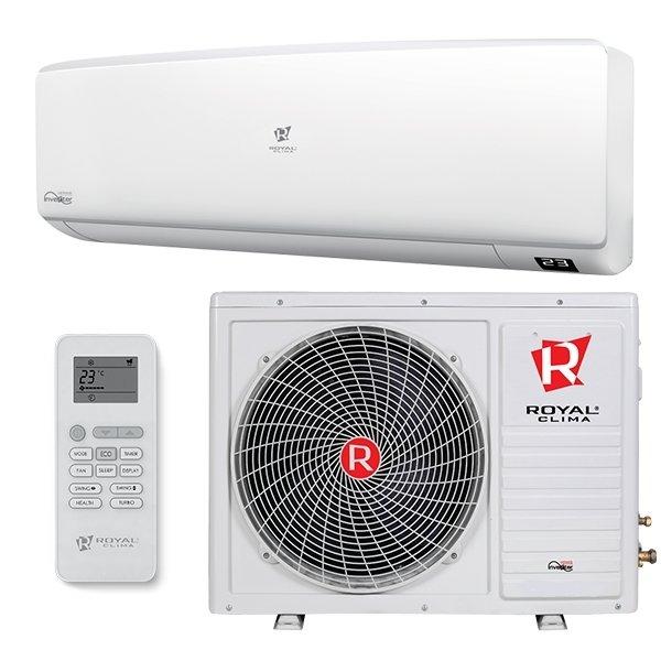 Настенный кондиционер Royal Clima RC-E64HN55 м? - 5.5 кВт<br>Контроль за климатом внутри закрытых помещений жилого дома (будь то квартира или индивидуальное жилище)   главная возможность настенного кондиционера Royal Clima (Роял Клима) RC-E64HN с четырьмя режимами работы (охлаждение, обогрев, вентиляция и осушение). Каждый режим прибора осуществляет свои функции и будет полезен в зависимости от нужд пользователя или погодных условий снаружи.<br>Особенности рассматриваемой модели настенного кондиционера серии Royal Clima  ENIGMA Plus :<br><br>Новинка 2016 года!<br>Классическая сплит-система.<br>Новинка 2016 года!<br>Компактный корпус.<br>Роторный компрессор нового поколения.<br>Современный дизайн с возможностью выбора сменной цветной вставки.<br>Прозрачная сменная вставка в комплекте.<br>Опциональные сменные цветные вставки: голубой, серый, коричневый.<br>4 режима работы: охлаждение, обогрев, осушение, вентиляция.<br>Антиаллергенный фильтр.<br>Автоматический режим функционирования.<br>Широкий диапазон рабочих температур.<br>Передовая технология снижения шума.<br>Ночной режим работы для комфортного отдыха.<br>Работа по таймеру.<br>Авторестарт.<br>Озонобезопасный фреон.<br><br>Лаконичные настенные сплит-системы от итальянского бренда Royal Clima включены в современную серию климатического оборудования ENIGMA Plus, в которой японская технология сочетается с классическим дизайном. Кондиционеры из данной серии выполнены в соответствии с самими строгими требованиями безопасности и качества. Контролировать включение и выключение каждой модели можно с помощью таймера. <br><br>Горизонтальная регулировка потока: Нет<br>Страна бренда: Италия<br>Уровень шума, дБа: 60<br>Габариты ВхШхГ, см: 60,5x82x30<br>Производитель: Китай<br>Вес, кг: 44<br>Компрессор: Не инвертор<br>Площадь, м?: 60<br>Режим работы: холод/тепло<br>Уровень шума, дБа: 48<br>Охлаждение, кВт: 6,4<br>Габариты ВхШхГ, см: 28x90x20,2<br>Вес, кг: 10<br>Обогрев, кВт: 6,9<br>Потребление при охлаждении, кВт: 1,978<br>Потре