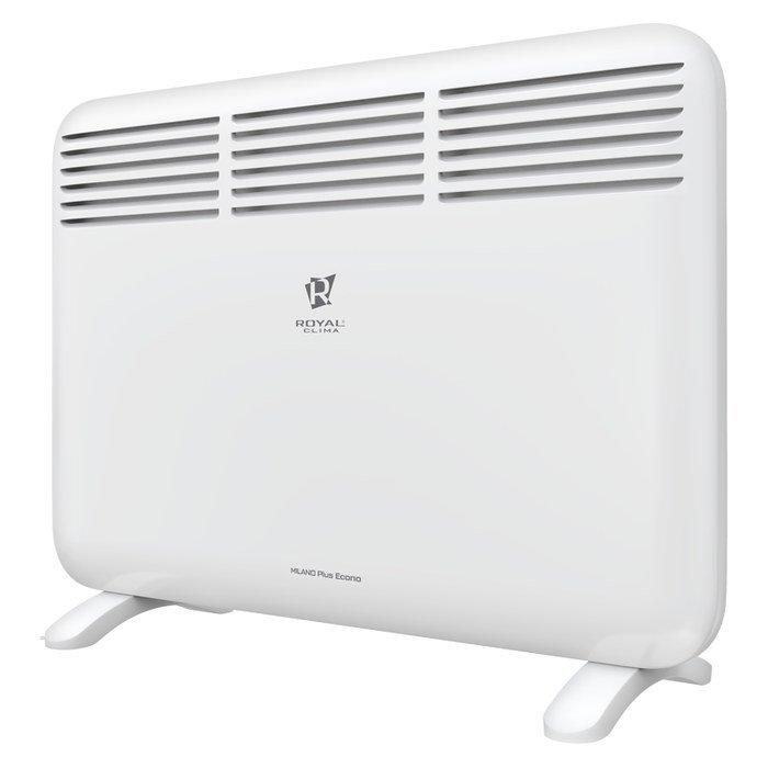 Конвектор электрический Royal Clima REC-MPE1000M10 м? - 1.0 кВт<br>Royal Clima (Роял Клима) REC-MPE1000M представляет собой модель современного и эффективного конвектора электрического типа, который подходит для обогрева помещений жилого и офисного типа. Модель функционирует в двух режимах нагрева воздуха. Одним из главных преимуществ модели является универсальный монтаж. Это означает, что агрегат может быть расположен как на стене, так и на полу.<br>Особенности и преимущества:<br><br>Высокоэффективный нагревательный СТИЧ-элемент FAST-ROYAL Heat Technology<br>Равномерный прогрев помещения, исключающий появление холодных зон<br>Моментальный разогрев прибора за несколько секунд<br>Равномерный прогрев помещения благодаря эксклюзивной конструкции воздухораздаточного отверстия увеличенной площади<br>Панель управления, расположенная сверху корпуса<br>Высокоточный термостат для настройки и поддержания желаемой температуры в помещении<br>2 режима нагрева воздуха<br>Система безопасной эксплуатации Security Project<br>Защита от перегрева<br>Отсутствие острых углов<br>Универсальная настенная и напольная установка (на ножки или на ножки с колесиками)<br>Высококачественное порошковое покрытие, устойчивое к выцветанию и царапинам<br>Классический дизайн и эргономичная конструкция для установки в любой интерьер<br><br>Royal Clima MILANO Plus Econo   это серия качественных электрических конвекторов, предназначенных для обслуживания жилых и офисных помещений. Отличительной чертой серии является то, что модели мгновенно нагреваются. Это доступно благодаря встроенному СТИЧ-элементу. Все модели оборудованы удобной панелью управления. Оборудование надежно защищено от перегрева.<br><br>Страна: Италия<br>Производитель: Китай<br>Mощность, Вт: 1000<br>Площадь, м?: 10<br>Класс защиты: IP24<br>Настенный монтаж: Да<br>Термостат: Электронный<br>Тип установки: Стена/пол<br>Длина конвектора: 480<br>Высота конвектора: 440<br>Отключение при перегреве: Есть<br>Отключение при опрокидывании: Есть<br>Вл