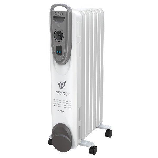 Масляный радиатор Royal Clima ROR-C5-1000M1.0 кВт<br>Royal Clima (Роял Клима) ROR-C5-1000M   это масляный радиатор с изысканным итальянским дизайном, который оснащен удобными ножками и эргономичной ручкой, что позволяет назвать данную модель очень мобильной и удобной в использовании в любых обстоятельствах. Пользователю доступны три режима нагрева, производитель предусмотрел надежный термостат механического действия.<br>Особенности и преимущества масляных радиаторов Royal Clima серии CATANIA:<br><br>Повышенная пожаробезопасность за счет сниженной температуры поверхности прибора<br>Экономия электроэнергии<br>Обогрев без шума и запаха<br>Экологически чистое масло. Многоступенчатая система очистки масла по стандарту HD 300<br>3 режима нагрева: мягкий, средний и интенсивный<br>Автоматическое поддержание температуры. Высоконадежный механический термостат<br>Система безопасной эксплуатации Security Project<br>Защита от перегрева<br>Специальный отсек для хранения шнура питания<br>Удобная ручка для перемещения<br>Опорные ножки с мобильными роликами<br>Увеличенная длина шнура питания 1.5 метра<br>Классический дизайн и эргономичная конструкция впишется в любой интерьер<br><br>Повышенного комфортна в жилых помещениях можно добиться, если использовать в целях эффективного обогрева масляные радиаторы Royal Clima серии CATANIA, которые полностью безопасны в использовании и отлично защищены от перегрева системой защиты Security Project. Опорные ножки и эргономичная ручка позволяют с комфортом перемещать модели из линейки на необходимые расстояния.<br><br>Страна: Италия<br>Мощность, Вт: 1000<br>Площадь, м?: 10<br>Колво секций: 5<br>Напряжение, В: 220 В<br>Вес, кг: 6<br>Гарантия: 1 год