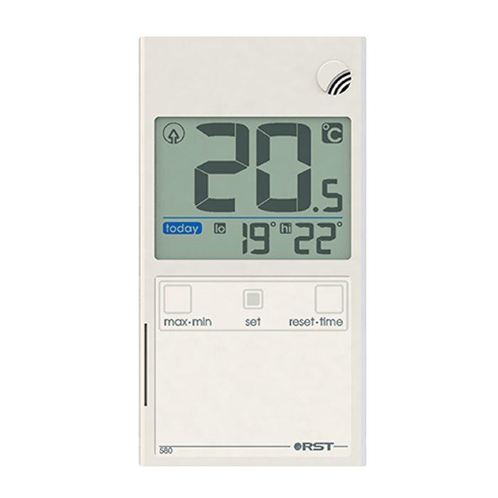 Термометр Rst 01580Оконные термометры<br> <br>Цифровой термометр-гигрометр предназначен для измерения температуры и относительной влажности воздуха  на улице. Информация о погоде на текущий момент, тенденция и динамика её изменения отображаются на LCD дисплее, которым оснащён прибор. Происходит постоянное обновления значений, которое делается на основе полученных данных. Корпус термометра прозрачный, устанавливается на окно с помощью специальных термостойких липучек.<br><br>Производитель: Швеция<br>Назначение: Оконный термометр<br>Страна: Швеция<br>Материал: Пластик<br>Диапазон  t, С: 20+70<br>Питание, В: Батарейки<br>Тип батарейки: CR2032<br>Колво батареек: 1<br>Габариты, мм: 96х52х7<br>Вес, кг: 1<br>Гарантия: 1 год<br>Ширина мм: 52<br>Высота мм: 96<br>Глубина мм: 7