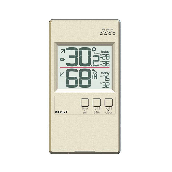 Цифровой термогигрометр Rst 01594Оконные термометры<br>Цифровой термогигрометр 01594 от известной компании Rst представляет собой ультратонкий (корпус имеет толщину в7 мм) и высокоточный прибор, предназначенный для замера температур, а также измерения показателя относительной влажности. Агрегат имеет удобное крепление с помощью липучки, благодаря чему будет прекрасно держаться на окне. Помимо температуры и влажности, устройство также показывает реальное время, может прогнозировать тенденции изменения температур. Корпус термометра окрашен в цвет шампань.<br><br>Производитель: Китай<br>Назначение: Для помещений<br>Страна: Швеция<br>Материал: Пластик<br>Диапазон  t, С: 10+50<br>Питание, В: Батарейки<br>Тип батарейки: CR2032<br>Колво батареек: 1<br>Габариты, мм: 52х96х7<br>Вес, кг: 1<br>Гарантия: 1 год<br>Ширина мм: 96<br>Высота мм: 52<br>Глубина мм: 7