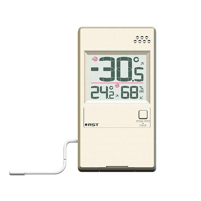 Оконный термогигрометр Rst 01596Оконные термометры<br>Цифровой термогигрометр 01596 от Rst способен показывать уличную и комнатную температуры, анализируя их и прогнозируя тенденции изменений. Устройство также замеряет показатель относительного уровня влажности. Корпус модели ультратонкий (7 миллиметров) и представлен в цвете шампань. Термогигрометр может крепиться к окну, а также может располагаться на стене или на любой горизонтальной поверхности на подставке. Уличные показатели фиксируются посредством выносного термосенсора.<br><br>Производитель: Китай<br>Назначение: Оконный термометр<br>Страна: Швеция<br>Материал: Пластик<br>Диапазон  t, С: 20+70<br>Питание, В: Батарейки<br>Тип батарейки: CR2032<br>Колво батареек: 1<br>Габариты, мм: 52х96х7<br>Вес, кг: 1<br>Гарантия: 1 год<br>Ширина мм: 96<br>Высота мм: 52<br>Глубина мм: 7