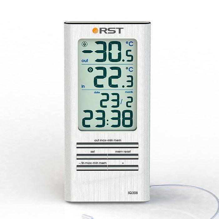 Цифровая метеостанция Rst 02308Без радиодатчика<br>Цифровой термометр с часами и календарем 02308<br><br>Страна: Швеция<br>Диапазон темп. t, С: 50+70<br>Диапазон p, мм. рт. ст.: None<br>Диапазон rH, : None<br>Разрешение t, С: 0,1<br>Цвет корпуса: серебристый<br>Питание, В: Батарейки<br>Колво батареек: 1<br>Тип батарейки: AAA<br>Адаптер к 220В: Нет<br>В комнате t, С: Да<br>За окном t, С: Да<br>Влажность в помещении: Нет<br>Влажность за окном: Нет<br>Давление: Нет<br>Прогноз погоды: Нет<br>Лунный календарь: Нет<br>Размер, мм: 123х60х17<br>Вес, кг: 1<br>Гарантия: 1 год<br>Ширина мм: 60<br>Высота мм: 123<br>Глубина мм: 17