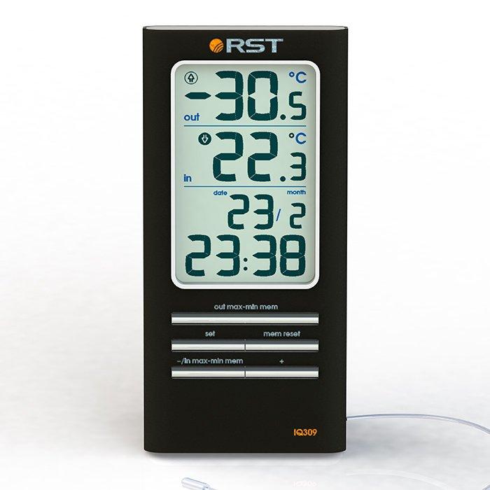 Цифровая метеостанция Rst 02309Без радиодатчика<br>Цифровой термометр измеряет температуру воздуха в помещении и на улице.Автоматический календарь,часы.Устанавливается на столе и имеет настенный крепеж.Красивая подарочная упаковка с розочкой.<br><br>Страна: Швеция<br>Диапазон темп. t, С: 50+70<br>Диапазон p, мм. рт. ст.: None<br>Диапазон rH, : None<br>Разрешение t, С: 0,1<br>Цвет корпуса: Черный<br>Питание, В: Батарейки<br>Колво батареек: 1<br>Тип батарейки: AAA<br>Адаптер к 220В: Нет<br>В комнате t, С: Да<br>За окном t, С: Да<br>Влажность в помещении: Нет<br>Влажность за окном: Нет<br>Давление: Нет<br>Прогноз погоды: Нет<br>Лунный календарь: Нет<br>Размер, мм: 125х60х18<br>Вес, кг: None<br>Гарантия: 1 год<br>Ширина мм: 60<br>Высота мм: 125<br>Глубина мм: 18