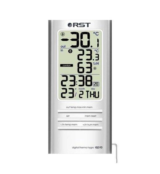 Цифровая метеостанция Rst 02310Без радиодатчика<br>Цифровой термометр- гигрометр с будильником RST 02310 занимает лидирующее место на рынке среди покупателей.&amp;nbsp;На лицевой части современного прибора имеется высококачественный жидкокристаллический дисплей. Благодаря этому можно визуально контролировать работу оборудования. Высококонтрастный дисплей отображает комнатную температуру и окружающей среды, время, дату и тенденции дальнейшего изменения температурного режима.&amp;nbsp;<br><br>Страна: Швеция<br>Диапазон темп. t, С: 50+70<br>Диапазон p, мм. рт. ст.: None<br>Диапазон rH, : 2099<br>Разрешение t, С: 0,1<br>Цвет корпуса: Серебристый<br>Питание, В: Батарейки<br>Колво батареек: 1<br>Тип батарейки: AAA<br>Адаптер к 220В: Нет<br>В комнате t, С: Да<br>За окном t, С: Да<br>Влажность в помещении: Да<br>Влажность за окном: Нет<br>Давление: None<br>Прогноз погоды: Нет<br>Лунный календарь: Нет<br>Размер, мм: 125x60x16<br>Вес, кг: 1<br>Гарантия: 1 год<br>Ширина мм: 60<br>Высота мм: 125<br>Глубина мм: 16