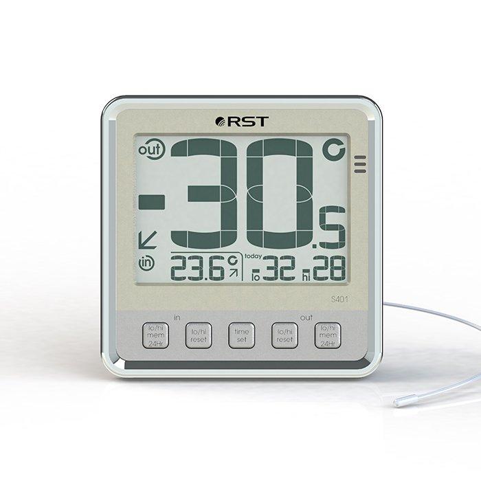Цифровая метеостанция Rst 02401Без радиодатчика<br> <br>Шведская компания RST представляет цифровой термометр с выносным термосенсорным прибором для определения погоды за окном. Удобное меню с функцией  memory  -автоматическим запоминанием максимальных и минимальных значений температуры за назначенный пользователем отрезок, также, функция предупреждающая о возможном гололеде. Крупные цифры на мониторе термометра уличной температуры (36 мм высота цифр). Жидкокристаллический экран устройства разделен на две строки, где в верхней половине дисплея отображается температура на улице (в месте установленного термосенсорного прибора), а в нижней части отображена температура в помещении.  Термосенсор предназначенный для определения температуры на улице соединен с цифровым термометром кабелем повышенной стойкости, который легко прокладывается через оконные рамы. Чтобы измерение уличной температуры было наиболее точным, рекомендуется термосенор прикреплять подальше от окон на открытый обдуваемый участок, но спрятанный от попадания прямых солнечных лучей.<br> <br><br>Страна: Швеция<br>Диапазон темп. t, С: 50+70<br>Диапазон p, мм. рт. ст.: None<br>Диапазон rH, : None<br>Разрешение t, С: 0,1<br>Цвет корпуса: Белый<br>Питание, В: Батарейки<br>Колво батареек: 2<br>Тип батарейки: AA<br>Адаптер к 220В: Нет<br>В комнате t, С: Да<br>За окном t, С: Да<br>Влажность в помещении: Нет<br>Влажность за окном: Нет<br>Давление: Нет<br>Прогноз погоды: Нет<br>Лунный календарь: Нет<br>Размер, мм: 102х102х9<br>Вес, кг: 1<br>Гарантия: 1 год<br>Ширина мм: 102<br>Высота мм: 102<br>Глубина мм: 9