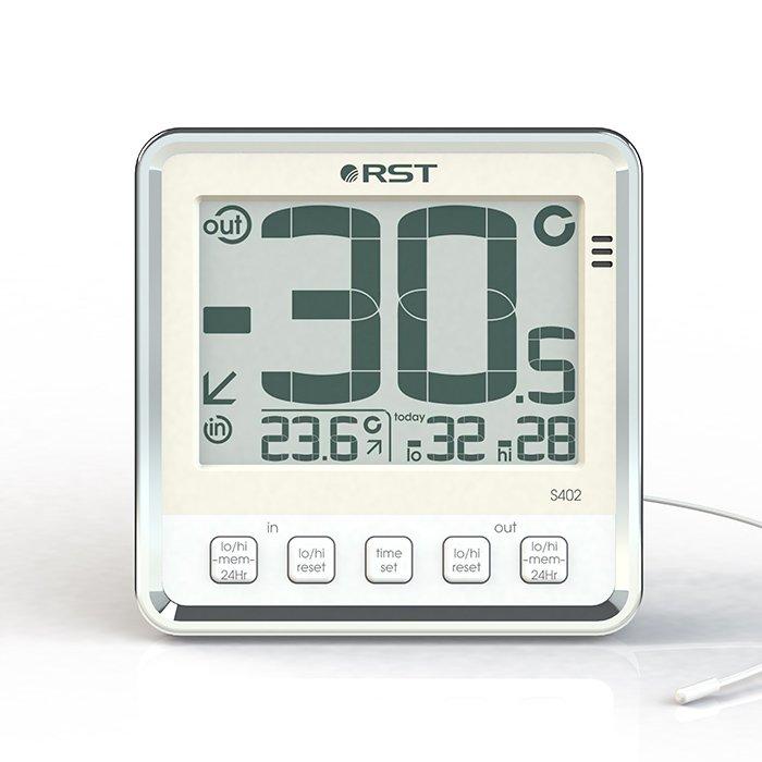 Цифровая метеостанция Rst 02402Без радиодатчика<br> <br>Шведская компания RST представляет цифровой термометр с выносным термосенсорным прибором для определения погоды за окном. Удобное меню с функцией  memory  -автоматическим запоминанием максимальных и минимальных значений температуры за назначенный пользователем отрезок, также, функция предупреждающая о возможном гололеде. Чтобы измерение уличной температуры было наиболее точным, рекомендуется термосенор прикреплять подальше от окон на открытый обдуваемый участок, но спрятанный от попадания прямых солнечных лучей. Термосенсор предназначенный для определения температуры на улице соединен с цифровым термометром кабелем повышенной стойкости, который легко прокладывается через оконные рамы. Кабель выносного термосенсора неотделим от корпуса термометра и имеет длину около 2,95 м. Дополнительно термометр может служить измерителем температуры воды, почвы и химически нейтральных смесей и жидкостей. Примечание: при измерении температуры воды необходима дополнительная изоляция.<br><br>Страна: Швеция<br>Диапазон темп. t, С: 50+70<br>Диапазон p, мм. рт. ст.: None<br>Диапазон rH, : None<br>Разрешение t, С: 0,1<br>Цвет корпуса: Серебристый<br>Питание, В: Батарейки<br>Колво батареек: 2<br>Тип батарейки: AA<br>Адаптер к 220В: Нет<br>В комнате t, С: Да<br>За окном t, С: Да<br>Влажность в помещении: Нет<br>Влажность за окном: Нет<br>Давление: Нет<br>Прогноз погоды: Нет<br>Лунный календарь: Нет<br>Размер, мм: 105х105х32<br>Вес, кг: 1<br>Гарантия: 1 год<br>Ширина мм: 105<br>Высота мм: 105<br>Глубина мм: 32