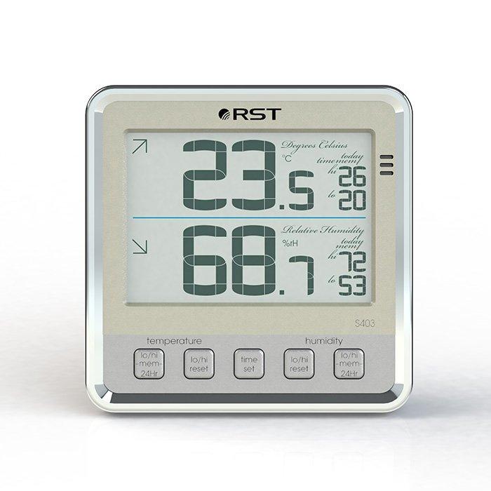 Цифровая метеостанция Rst 02403Без радиодатчика<br> <br>Компактный цифровой термометр с увеличенным и более контрастным экраном с хромированной вставкой и сенсорными кнопками. Термометр фирмы RST способен выдавать информацию об изменениях погодных условий на улице при помощи выносного высокочувствительного термосенсора соединенного к термометру тонким кабелем. Устройство способно запоминать изменения температуры, предупреждать о возможном гололеде.  Жидкокристаллический монитор термометра из двух информационных строк, где в верхней половине дисплея отображается температура на улице (в месте установленного термосенсорного прибора), а в нижней части экрана отображена температура в помещении. Пользователь, имея такой цифровой термометр, всегда будет точно определять погоду на улице и температуру в помещении, с информацией о влажности воздуха.  Питается устройство от двух батареек типа АА (с индикатором о состоянии заряда батарей).<br><br>Страна: Швеция<br>Диапазон темп. t, С: 20+70<br>Диапазон p, мм. рт. ст.: None<br>Диапазон rH, : 199<br>Разрешение t, С: 0,1<br>Цвет корпуса: Белый<br>Питание, В: Батарейки<br>Колво батареек: 2<br>Тип батарейки: AA<br>Адаптер к 220В: Нет<br>В комнате t, С: Да<br>За окном t, С: Нет<br>Влажность в помещении: Да<br>Влажность за окном: Нет<br>Давление: Нет<br>Прогноз погоды: Нет<br>Лунный календарь: Нет<br>Размер, мм: 105х105х32<br>Вес, кг: 1<br>Гарантия: 1 год<br>Ширина мм: 105<br>Высота мм: 105<br>Глубина мм: 32