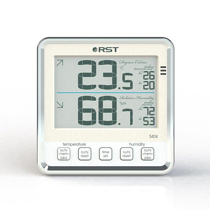 Цифровая метеостанция Rst 02404Без радиодатчика<br>Шведская компания RST, которая успешно зарекомендовала себя на мировом рынке представляет вашему вниманию цифровой термометр для точного определения температуры и влажности воздуха не только в помещении, но и на улице. Прибор легко прикрепить на стену или просто его ставят на стол.<br>Современный дизайн термометра, исполненного в стиле hi-tech служит также в качестве украшеня интерьера комнаты и не займет много места. Большой контрастный дисплей не заставит вас напрягать зрение, чтобы разглядеть цифры, которые показывают температуру воздуха. Устройство помогает пользователю узнать погоду на улице.<br>Термометр может фиксировать в своей внутренней памяти максимальные и минимальные значения температуры. Питается представленное цифровое устройство от 2-х батареек типа АА (с индикатором состояния заряда питания).<br><br>Страна: Швеция<br>Диапазон темп. t, С: 50+70<br>Диапазон p, мм. рт. ст.: None<br>Диапазон rH, : 199<br>Разрешение t, С: 0,1<br>Цвет корпуса: Серебристый<br>Питание, В: Батарейки<br>Колво батареек: 2<br>Тип батарейки: AA<br>Адаптер к 220В: Нет<br>В комнате t, С: Да<br>За окном t, С: Нет<br>Влажность в помещении: Да<br>Влажность за окном: Нет<br>Давление: Нет<br>Прогноз погоды: Нет<br>Лунный календарь: Нет<br>Размер, мм: 105х105х32<br>Вес, кг: 1<br>Гарантия: 1 год<br>Ширина мм: 105<br>Высота мм: 105<br>Глубина мм: 32