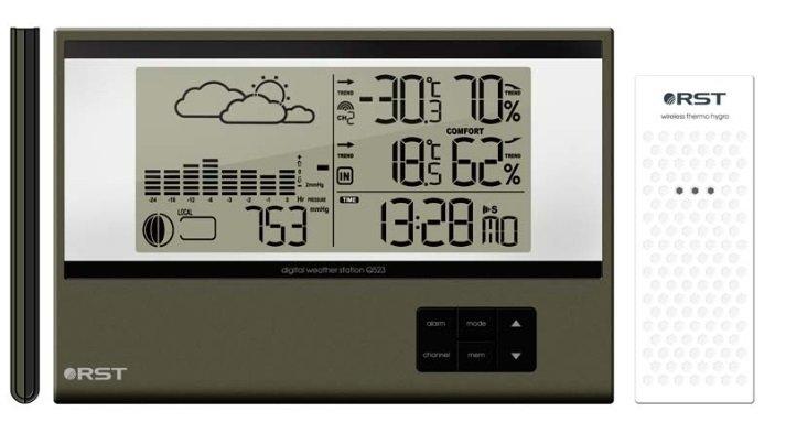 Цифровая метеостанция Rst 02523С радиодатчиком<br>Домашняя погодная станция RST 02523 с беспроводным датчиком &amp;mdash; это уникальный прибор, при помощи которого легко будет следить за погодными изменениями каждый день. Выносные электронные датчики&amp;nbsp;измеряют колебания атмосферного давления за определенный промежуток времени.&amp;nbsp;Информация о погоде составляется на основе их показаний.<br><br>Страна: Швеция<br>Диапазон темп. t, С: 50+60<br>Диапазон p, мм. рт. ст.: 615802<br>Диапазон rH, : 2099<br>Разрешение t, С: 0,1<br>Цвет корпуса: Зеленый металик<br>Питание, В: Батарейки<br>Колво батареек: 2<br>Тип батарейки: AA<br>Адаптер к 220В: Нет<br>В комнате t, С: Да<br>За окном t, С: Да<br>Влажность в помещении: Да<br>Влажность за окном: Да<br>Давление: Да<br>Прогноз погоды: Да<br>Лунный календарь: Да<br>Размер, мм: 177х120х10<br>Вес, кг: 1<br>Гарантия: 1 год<br>Ширина мм: 120<br>Высота мм: 177<br>Глубина мм: 10