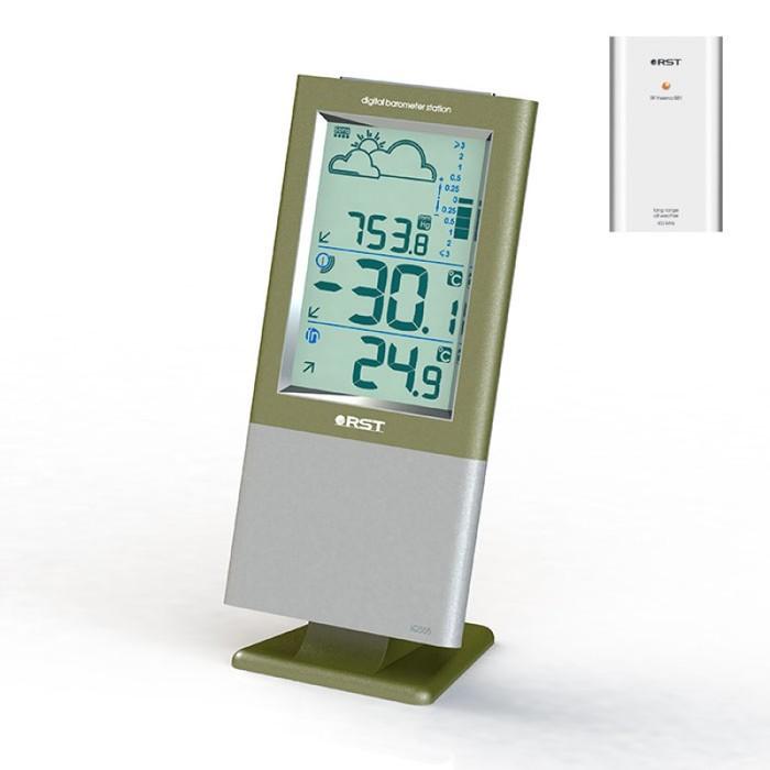 Цифровая метеостанция Rst 02555С радиодатчиком<br>Маленькая настольная метеостанция с беспроводным датчиком 02555 RST Meteo Link &amp;mdash; лучший выбор для офиса и дома. Спектр применения такого прибора достаточно широк &amp;ndash; он может использоваться для контроля за хранением музыкальных инструментов и мебели, для зимнего сада и теплицы, детской комнаты и винного погреба, помещения для хранения сигар и склада, аптеки и производственного помещения, аквариума и ванны, бани и релаксационной комнаты.&amp;nbsp;<br><br>Страна: Швеция<br>Диапазон темп. t, С: 40+60<br>Диапазон p, мм. рт. ст.: 225827<br>Диапазон rH, : None<br>Разрешение t, С: 0,1<br>Цвет корпуса: Серебристый/зеленый металик<br>Питание, В: Батарейки<br>Колво батареек: 2<br>Тип батарейки: AA<br>Адаптер к 220В: Нет<br>В комнате t, С: Да<br>За окном t, С: Да<br>Влажность в помещении: Нет<br>Влажность за окном: Нет<br>Давление: Да<br>Прогноз погоды: Да<br>Лунный календарь: Нет<br>Размер, мм: 182х78х11/28<br>Вес, кг: None<br>Гарантия: 1 год