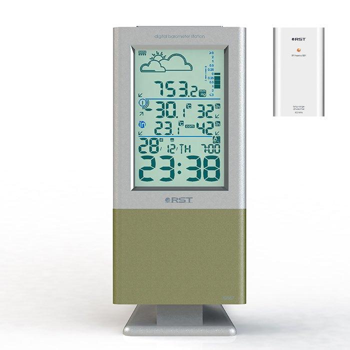 Выносная метеостанция Rst 02557С радиодатчиком<br>Современная компактная модель цифровой метеостанции с выносным датчиком RST 02557  имеет отличный дизайн, в стиле  hi-tech , благодаря которому можно завершить любой интерьер или добавить дизайнерскую изюминку.  Домашняя метеостанция популярна среди пользователей и хорошо себя зарекомендовала на российском рынке, благодаря использованию специальных высокочувствительных сенсоров, которые распознают самые мельчайшие колебания атмосферного давления. Есть все самое необходимое для составления прогноза погоды, лишних функций нет. Основной дисплей позволит вывести крупным планом цифры показателей температуры и цифрового барометра. Практически с любого расстояния пользователь может проконтролировать процесс работы.<br><br>Страна: Швеция<br>Диапазон темп. t, С: 40+60<br>Диапазон p, мм. рт. ст.: 615802<br>Диапазон rH, : 2095<br>Разрешение t, С: 0,1<br>Цвет корпуса: Серебристоголубой<br>Питание, В: Батарейки<br>Колво батареек: 2<br>Тип батарейки: АА<br>Адаптер к 220В: Нет<br>В комнате t, С: Да<br>За окном t, С: Да<br>Влажность в помещении: Да<br>Влажность за окном: Нет<br>Давление: Да<br>Прогноз погоды: Да<br>Лунный календарь: Нет<br>Размер, мм: 163х78х27<br>Вес, кг: 1<br>Гарантия: 1 год<br>Ширина мм: 78<br>Высота мм: 163<br>Глубина мм: 27