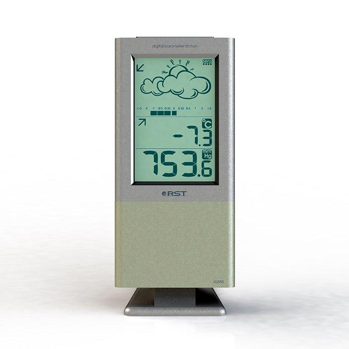 Цифровая метеостанция Rst 02558Без радиодатчика<br>Погодная барометрическая станция&amp;nbsp; RST 02558, оснащённая выносным термо-гигродатчиком. Уникальный бытовой прибор для дома, при помощи которого легко будет следить за погодными изменениями каждый день. Выносные электронные датчики измеряют колебания атмосферного давления за определенный промежуток времени. Информация о погоде составляется на основе их показаний.&amp;nbsp;<br><br>Страна: Швеция<br>Диапазон темп. t, С: 50+70<br>Диапазон p, мм. рт. ст.: 615802<br>Диапазон rH, : None<br>Разрешение t, С: 0,1<br>Цвет корпуса: Серебристый/белый<br>Питание, В: Батарейки<br>Колво батареек: 2<br>Тип батарейки: AA<br>Адаптер к 220В: Нет<br>В комнате t, С: Да<br>За окном t, С: Нет<br>Влажность в помещении: Нет<br>Влажность за окном: Нет<br>Давление: Да<br>Прогноз погоды: Да<br>Лунный календарь: Нет<br>Размер, мм: 182х78х11/28<br>Вес, кг: None<br>Гарантия: 1 год