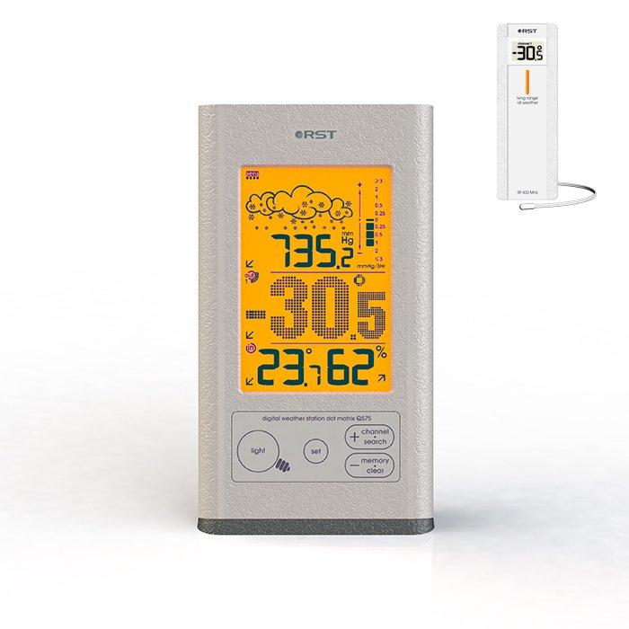 Цифровая метеостанция Rst 02575С радиодатчиком<br>RST 02575 относится к многофункциональным маленьким цифровым метеостанциям для дома, которые осуществляют точный сбор температурных данных с беспроводных датчиков. Для удобства использования устройства разработан качественный и контрастный жидкокристаллический дисплей, который имеет внушительные размеры. Благодаря дисплею, можно контролировать работу оборудования и просматривать сохраненные показания. Имеется интуитивно понятные анимированные символы, которые дают возможность моментально сориентироваться о сложившихся погодных условиях. <br><br>Страна: Швеция<br>Диапазон темп. t, С: 50+70<br>Диапазон p, мм. рт. ст.: 637,5787,5<br>Диапазон rH, : None<br>Разрешение t, С: 0,1<br>Цвет корпуса: Серый<br>Питание, В: Батарейки<br>Колво батареек: 2<br>Тип батарейки: АА<br>Адаптер к 220В: Нет<br>В комнате t, С: Да<br>За окном t, С: Да<br>Влажность в помещении: Да<br>Влажность за окном: Нет<br>Давление: Да<br>Прогноз погоды: Да<br>Лунный календарь: Нет<br>Размер, мм: 167x124x65<br>Вес, кг: 1<br>Гарантия: 1 год<br>Ширина мм: 124<br>Высота мм: 167<br>Глубина мм: 65