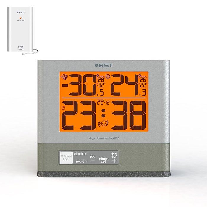 Термометр Rst 02715С радиодатчиком<br><br>Цифровой термометр RST с радиодатчиком имеет подсветку дисплея. Используется для измерения температуры в помещении и на улице. определения тенденции и динамики изменения температуры, определения суточных максимального и минимального зарегистрированных значений температур. В прибор встроены часы с rcc сигналом, календарь и будильник, сигнализатор возникновения гололеда, индикатор состояния батареи станции и радиодатчика.<br> <br>В комплекте поставляются: <br><br>Основная метеостанция<br>Внешний радиодатчик<br>Инструкция на русском языке<br>Гарантийный талон<br>Батареи типа ААА 2 шт<br><br><br>Страна: Швеция<br>Питание, В: Сеть/Бат.<br>Диапазон  t, С: 50+70<br>Тип батарейки: AAA<br>Колво батареек: 2<br>Габариты, мм: 120х106х12<br>Вес, кг: 1<br>Гарантия: 1 год<br>Назначение: С радиодатчиком<br>Ширина мм: 106<br>Высота мм: 120<br>Глубина мм: 12