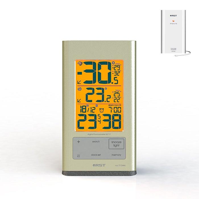Термометр Rst 02717С радиодатчиком<br>Цифровой бытовой термометр RST с радиодатчиком имеет подсветку дисплея. Используется для измерения температуры в помещении и на улице, определения тенденции и динамики изменения температуры, определения суточных максимального и минимального зарегистрированных значений температур. В электронный прибор встроены часы с rcc сигналом, календарь и будильник, сигнализатор возникновения гололеда, индикатор состояния батареи станции и бесконтактного радиодатчика.<br><br>Страна: Швеция<br>Питание, В: Батарейки<br>Диапазон  t, С: 50+70<br>Тип батарейки: AAA<br>Колво батареек: 2<br>Габариты, мм: 85х156х12<br>Вес, кг: 1<br>Гарантия: 1 год<br>Назначение: С радиодатчиком<br>Ширина мм: 156<br>Высота мм: 85<br>Глубина мм: 12
