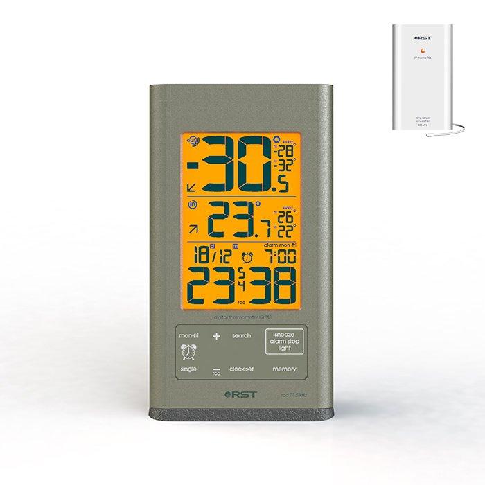 Термометр Rst 02718С радиодатчиком<br>Лучший беспроводной цифровой термометр RST &amp;nbsp;с датчиком имеет подсветку дисплея. Используется для измерения температуры в помещении и на улице. определения тенденции и динамики изменения температуры, определения суточных максимального и минимального зарегистрированных значений температур. В прибор встроены часы с rcc сигналом, календарь и будильник, сигнализатор возникновения гололеда, индикатор состояния батареи станции и радиодатчика.<br><br>Страна: Швеция<br>Питание, В: Батарейки<br>Диапазон  t, С: 50+70<br>Тип батарейки: AAA<br>Колво батареек: 2<br>Габариты, мм: 85х156х12<br>Вес, кг: 1<br>Гарантия: 1 год<br>Назначение: С радиодатчиком<br>Ширина мм: 156<br>Высота мм: 85<br>Глубина мм: 12