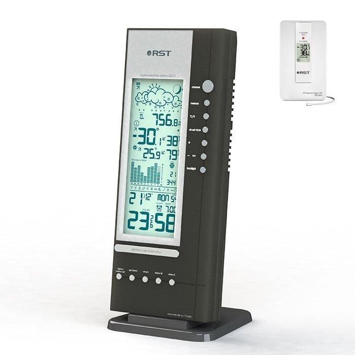 Цифровая метеостанция Rst 02737С радиодатчиком<br>Погодная анимационная метеостанция RST 02737 позволит вам всегда быть в курсе текущих погодных условий, что поможет вам лучше планировать свой день. Представленное климатическое устройство имеет лаконичное и простое дизайнерское решение всей конструкции и может быть удобно размещена внутри комнаты. Главным преимуществом представленной модели является широкий рабочий диапазон измерения температуры.<br>Основные функции и возможности рассматриваемой метеостанции от компании RST:<br><br>Температура и влажность воздуха внутри помещения, тенденция ее изменения.<br>Температура и влажность воздуха вне помещения, передаваемая на базовый блок от максимум пяти автономных радиодатчиков.<br>Система автоматического мониторинга температур и влажности полученных с радиодатчиков.<br>Автоматическое запоминание MAX и MIN значений температур и влажности внутри и вне помещения.<br>Сигнализация низкой температуры, образования гололёда и заморозков.<br>Астрологический зодиакальный календарь.<br>Анимационный символьный прогноз погоды.<br>Цифровой барометр, с указанием тенденции изменения атмосферного давления.<br>Два режима подсветки дисплея.<br>График изменения атмосферного давления за последние 24 часа.<br>Часы с системой коррекции времени и даты по радиосигналам.-<br>Вечный календарь.<br>Система Intelligent alarm (разумный будильник).<br>Анимированный лунный календарь с указанием силы приливов и отливов.<br><br>Метеоприборы от одного из ведущих производителей современного рынка   компании RST   это всегда высокое качество материалов, комфорт в эксплуатации и длительный срок службы. В семействе представлены, как бытовые модели, так и приборы для профессионального использования.  <br><br>Страна: Китай<br>Диапазон темп. t, С: 50+70<br>Диапазон p, мм. рт. ст.: 615802<br>Диапазон rH, : 2099<br>Разрешение t, С: 0,1<br>Цвет корпуса: Черный<br>Питание, В: Сеть/Бат.<br>Колво батареек: 4<br>Тип батарейки: АА<br>Адаптер к 220В: Есть<br>В комнате t,