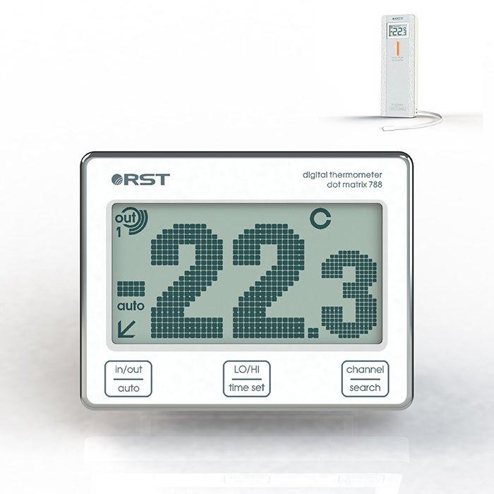 Оконный термометр RstС радиодатчиком<br>Оконный цифровой термометр RST 02788 с выносным датчиком   компактное и легкое устройство, простое в управлении и точное в своих измерениях. Термометр позволяет одновременно контролировать температуру воздуха снаружи помещения и внутри его или только в одном выбранном Вами месте. Данный электронный прибор может оказаться полезным в детской или другой комнате.<br><br>Страна: Швеция<br>Питание, В: Батарейки<br>Диапазон  t, С: 50+70<br>Тип батарейки: ААА<br>Колво батареек: 2<br>Габариты, мм: 90х70х20<br>Вес, кг: 1<br>Гарантия: 1 год<br>Назначение: С радиодатчиком<br>Ширина мм: 70<br>Высота мм: 90<br>Глубина мм: 20