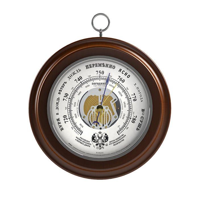 Русский барометр RstБарометры<br>Классический русский настенный барометр (анероид) RST 05235 выполнен в неподражаемом стиле с эргономичным циферблатом. Как и во всех барометрах и механических метеостанциях фирмы RST, основные детали, с помощью которых производится измерение атмосферного давления, имеют ручную сборку и проходят тщательный отбор на предприятии-изготовителе. Модель способна предсказать погодные условия.<br><br>Страна: Швеция<br>Диапазон p, мм. рт. ст.: 710800<br>Цвет: Махагон<br>Питание, В: Нет<br>Тип батарейки: None<br>Тип установки: Настенный<br>Стиль исполнения: Классический<br>Термометр: Нет<br>Гигрометр: Нет<br>Часы: Нет<br>Габариты, мм: 170х130х25<br>Вес, кг: 1<br>Гарантия: 1 год<br>Ширина мм: 130<br>Высота мм: 170<br>Глубина мм: 25