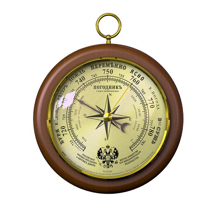 Деревянный барометр Rst 05295Барометры<br>Деревянный барометр для дома RST 05295 поставляется в элегантном корпусе. Модель предназначена для точного измерения атмосферного давления, для чего предусмотрен механизм-анероид. Поверхность его покрыта пылепредохранительным стеклом.<br><br>Страна: Швеция<br>Диапазон p, мм. рт. ст.: 710790<br>Цвет: Махагон<br>Питание, В: Нет<br>Тип батарейки: None<br>Тип установки: Настенный<br>Стиль исполнения: Классический<br>Термометр: Нет<br>Гигрометр: Нет<br>Часы: Нет<br>Габариты, мм: 130х105х25<br>Вес, кг: 1<br>Гарантия: 1 год<br>Ширина мм: 105<br>Высота мм: 130<br>Глубина мм: 25