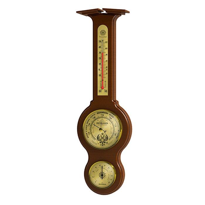 Настенная метеостанция Rst 05301Барометр+Гигро+Термо<br>Настенная метеостанция RST 05301 из серии  Погодник  выполнена в неподражаемом стиле с ртутным термометром и анероидом. Как и во всех барометрах и механических метеостанциях фирмы RST, основные детали, с помощью которых производится измерение атмосферного давления, имеют ручную сборку и проходят тщательный отбор на предприятии-изготовителе, что обеспечивает высокую степень надежности и превосходное качество продукции. Все перечисленные достоинства прибора позволяют с хорошей точностью измерять атмосферное давление, температуру  и следить за тенденцией и динамикой изменения погоды.<br><br>Страна: Швеция<br>Диапазон p, мм. рт. ст.: 710790<br>Диапазон t, C: 40+50<br>Диапазон rH, : 0100<br>Цвет: Орех<br>Питание, В: Нет<br>Тип батарейки: None<br>Тип установки: Настенный<br>Стиль исполнения: Классический<br>Термометр: Есть<br>Гигрометр: Да<br>Часы: Нет<br>Габариты, мм: 105х70х140х460х25<br>Вес, кг: 1<br>Гарантия: 1 год