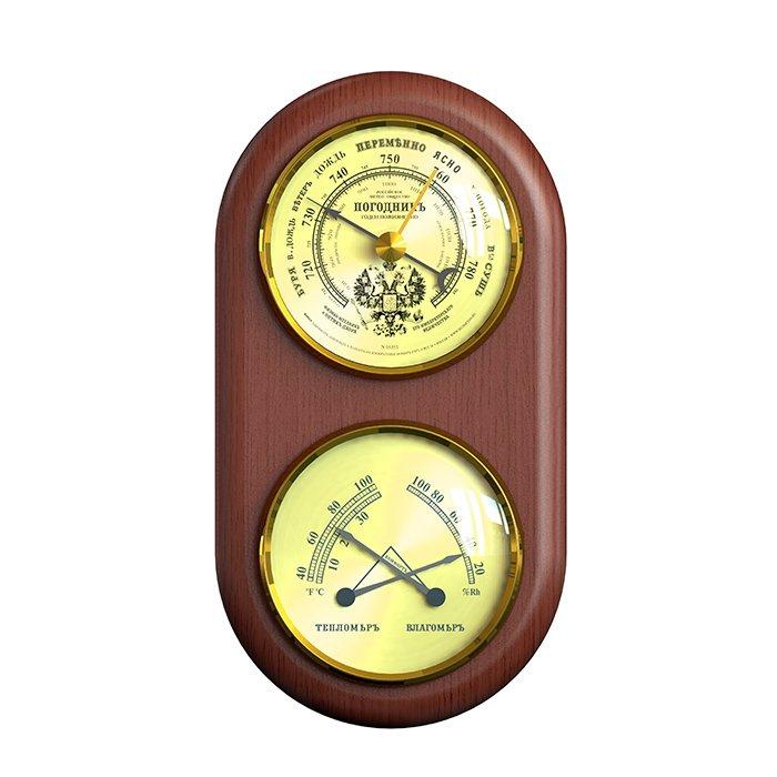 Барометр Rst 05351Барометр+Гигро+Термо<br>Комнатный механический анероид RST 05351 украшен гербом России (величавым двуглавым орлом), что придает барометрам данной серии эргономичный дизайн и солидный вид.&amp;nbsp;Корпус метеостанции сделан из дерева дорогих пород, придавая образу прибора классический старорусский стиль.<br><br>Страна: Швеция<br>Диапазон p, мм. рт. ст.: 700800<br>Диапазон t, C: 40+50<br>Диапазон rH, : 0100<br>Цвет: Махагон<br>Питание, В: Нет<br>Тип батарейки: None<br>Тип установки: Настенный<br>Стиль исполнения: Классический<br>Термометр: Нет<br>Гигрометр: Да<br>Часы: Нет<br>Габариты, мм: 70х90х170х25<br>Вес, кг: 1<br>Гарантия: 1 год